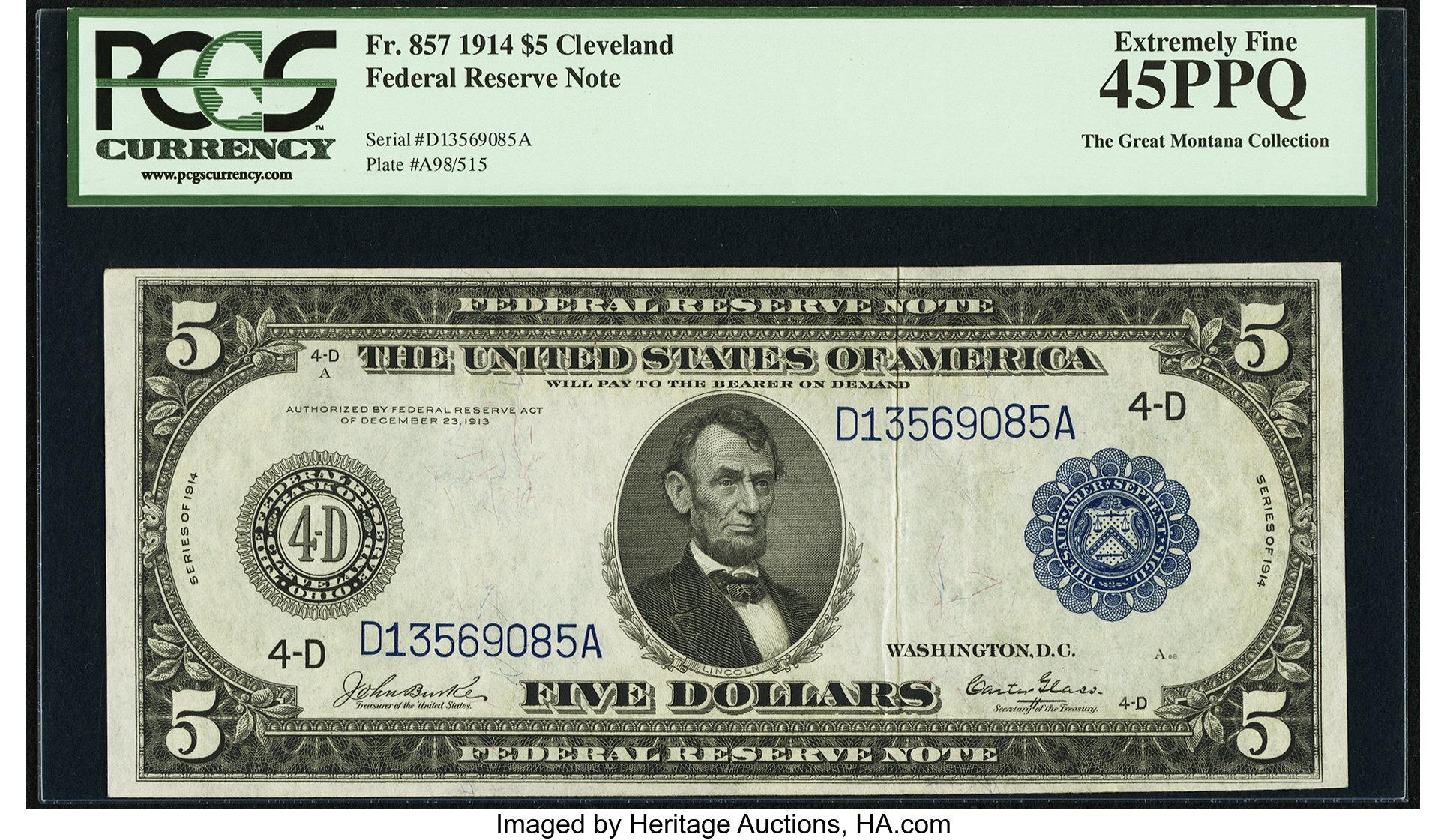 sample image for Fr.857 $5 Cleveland