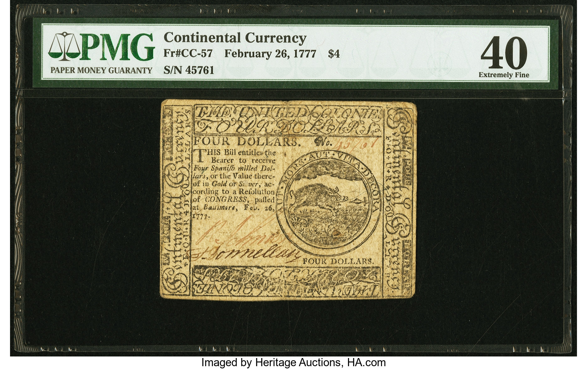sample image for 1777 $4 CC57 Baltimore