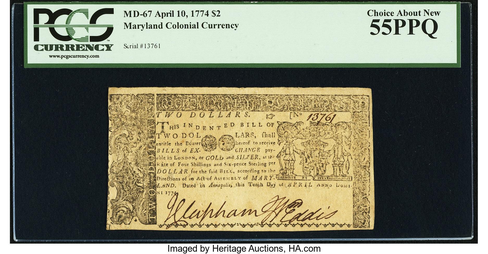sample image for 1774 April 10 $2 (Fr.# MD67)