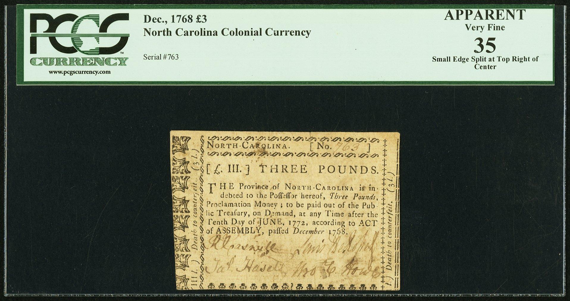 sample image for 1768 December £3 (Fr.# NC133)
