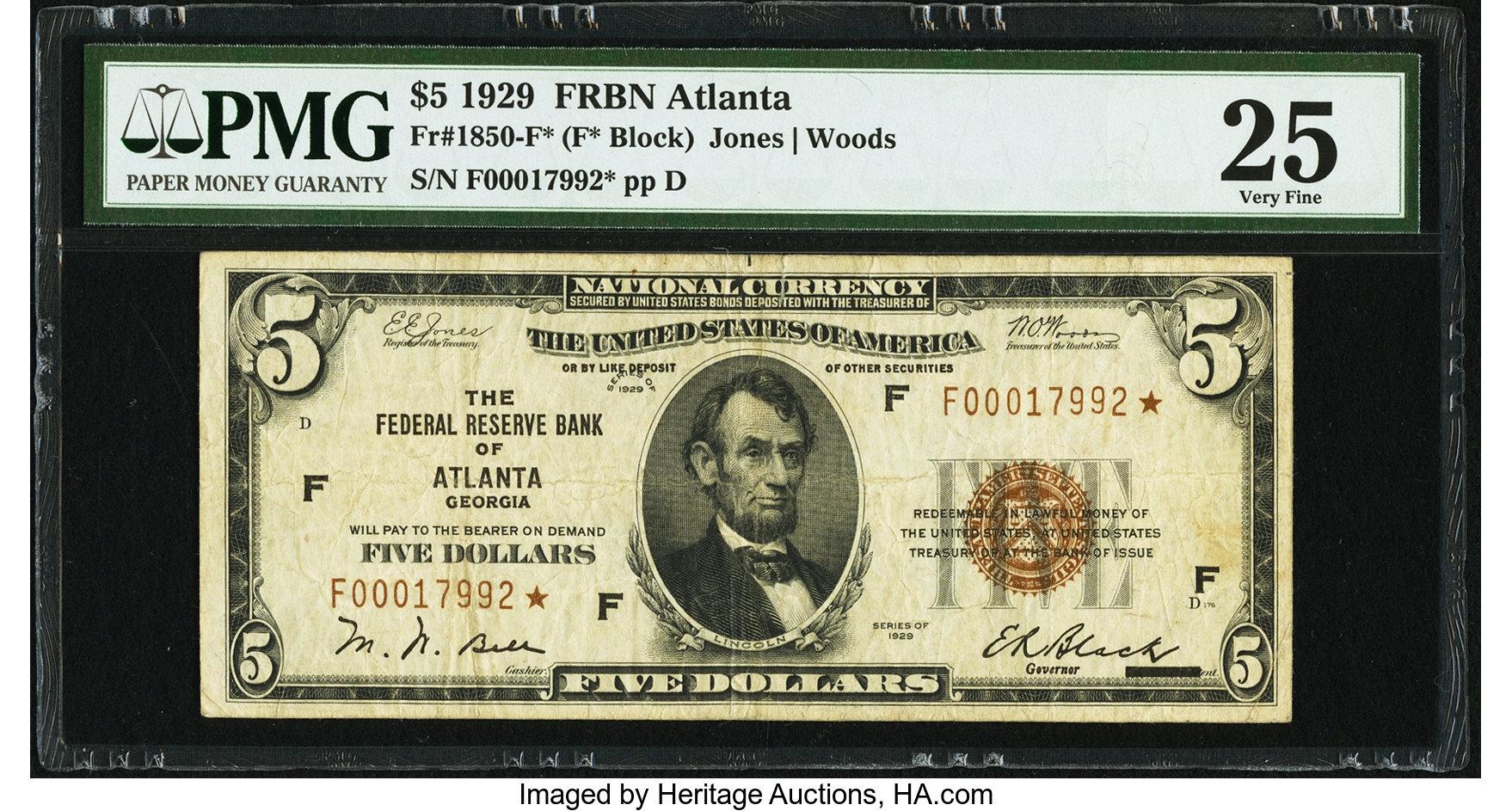 sample image for 1929 $5  Atlanta (Fr.# 1850F)
