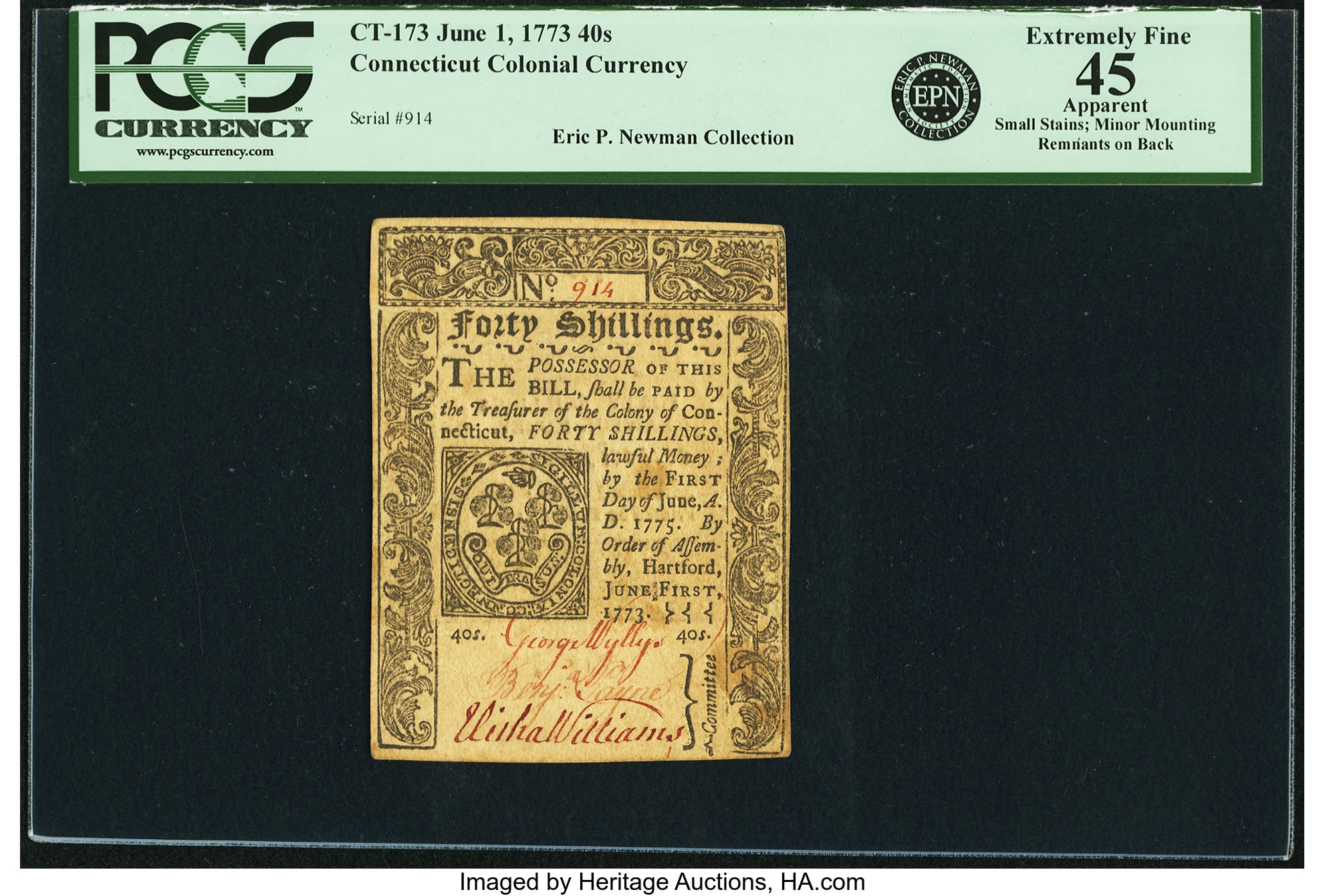 sample image for 1773 1-Jun 40s (Fr.# CT173)