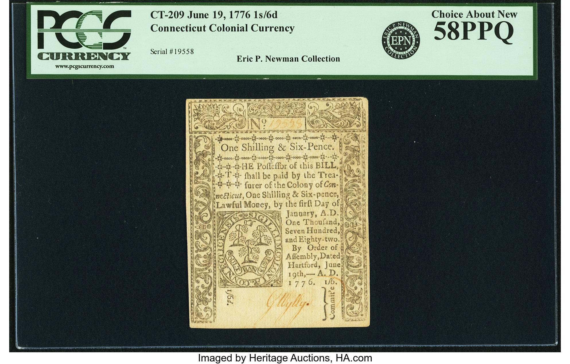 sample image for 1776 19-Jun 1s/6d (Fr.# CT209)