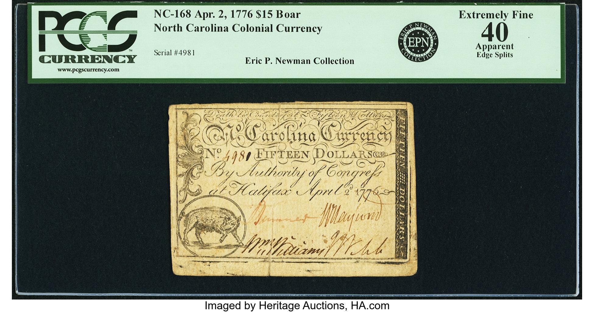 sample image for 1776 2-Apr $15  Boar (Fr.# NC168)