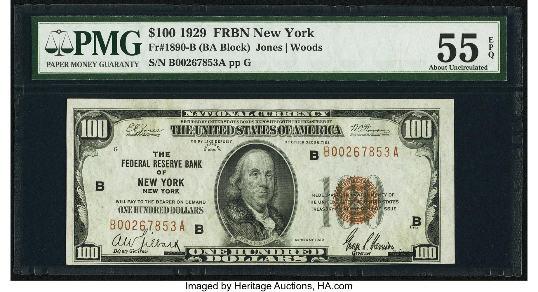 sample image for 1929 $100  New York (Fr.# 1890B)