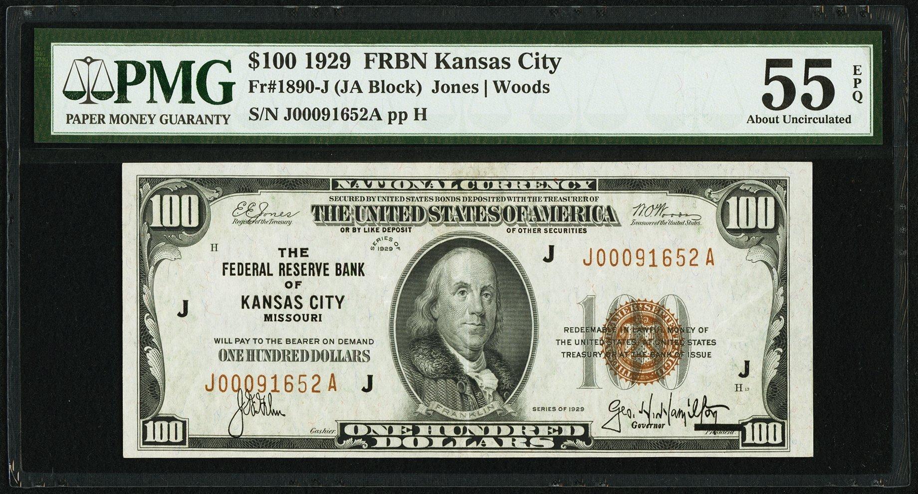 sample image for 1929 $100  Kansas City (Fr.# 1890J)