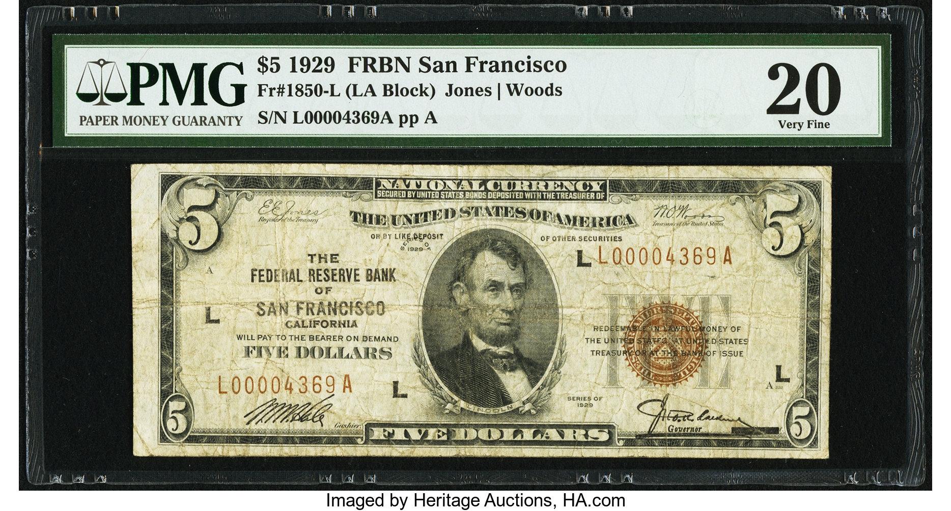 sample image for 1929 $5  San Francisco (Fr.# 1850L)