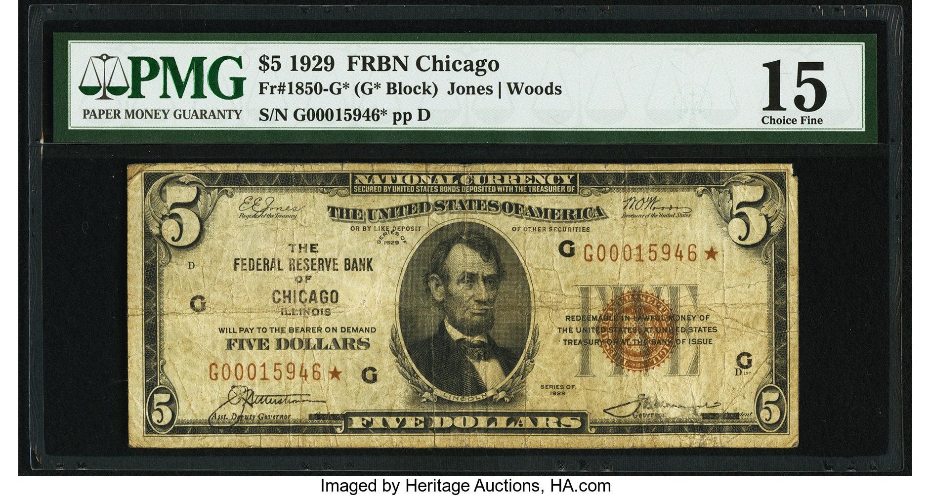 sample image for 1929 $5  Chicago (Fr.# 1850G)