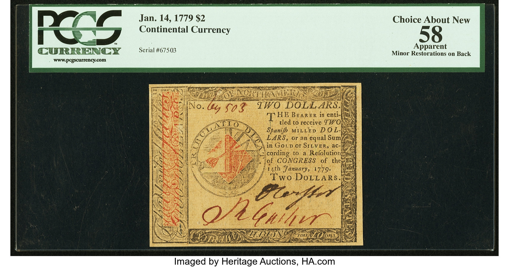 sample image for 1779 $2 CC88