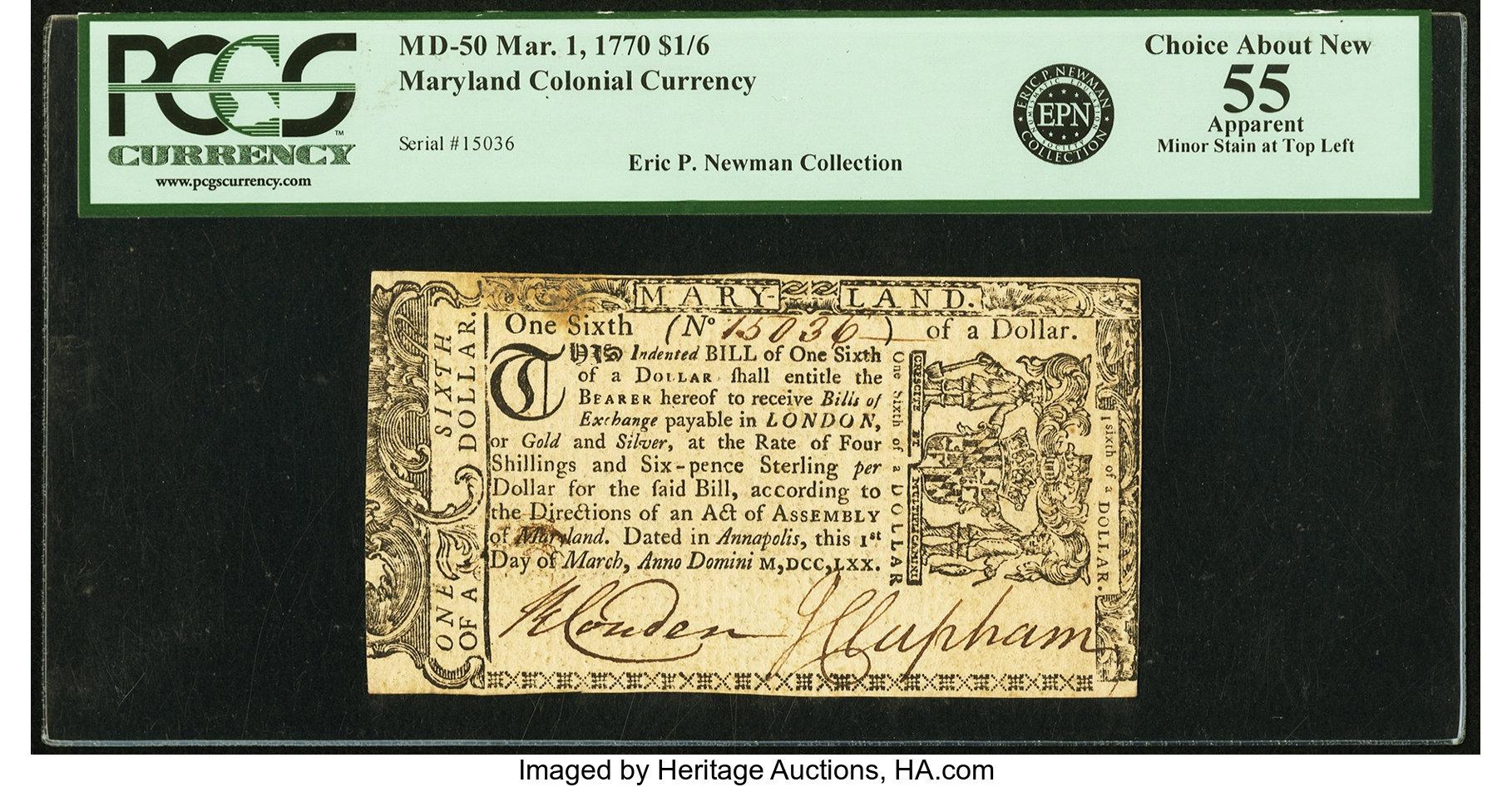 sample image for 1770 1-Mar $1/6 (Fr.# MD50)