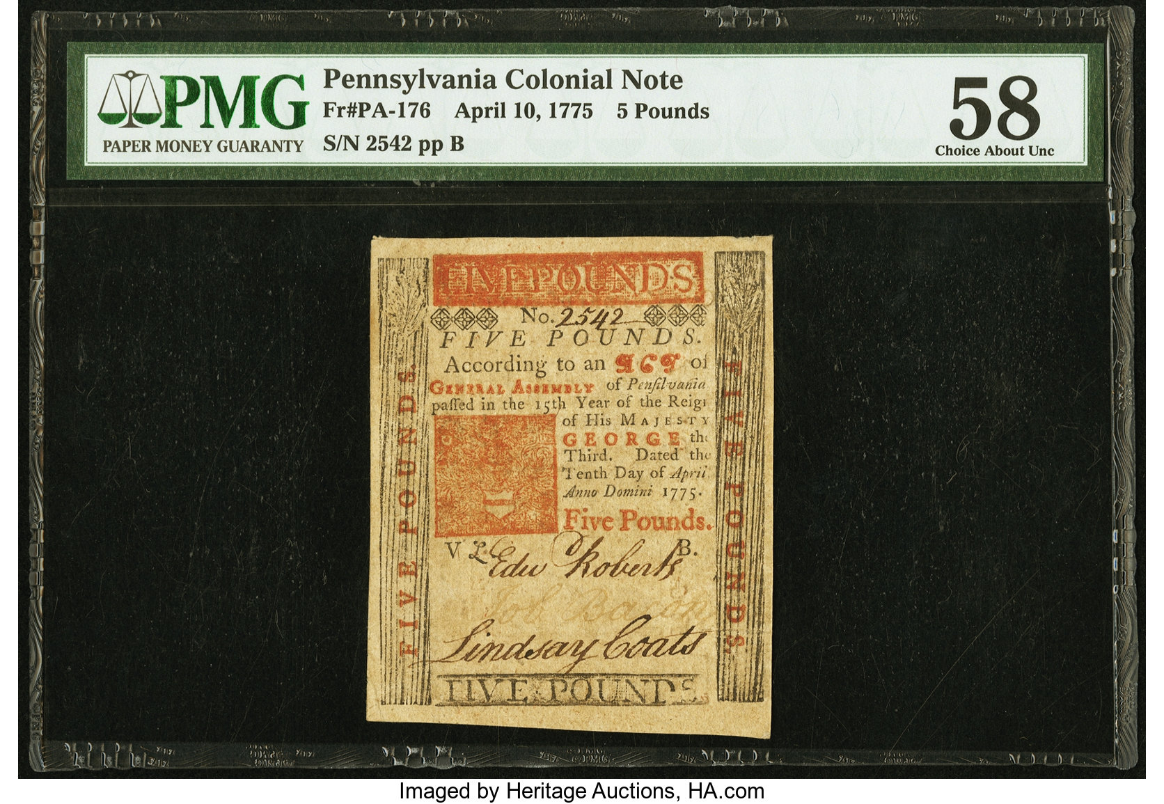 sample image for 1775 10-Apr £5 (Fr.# PA176)