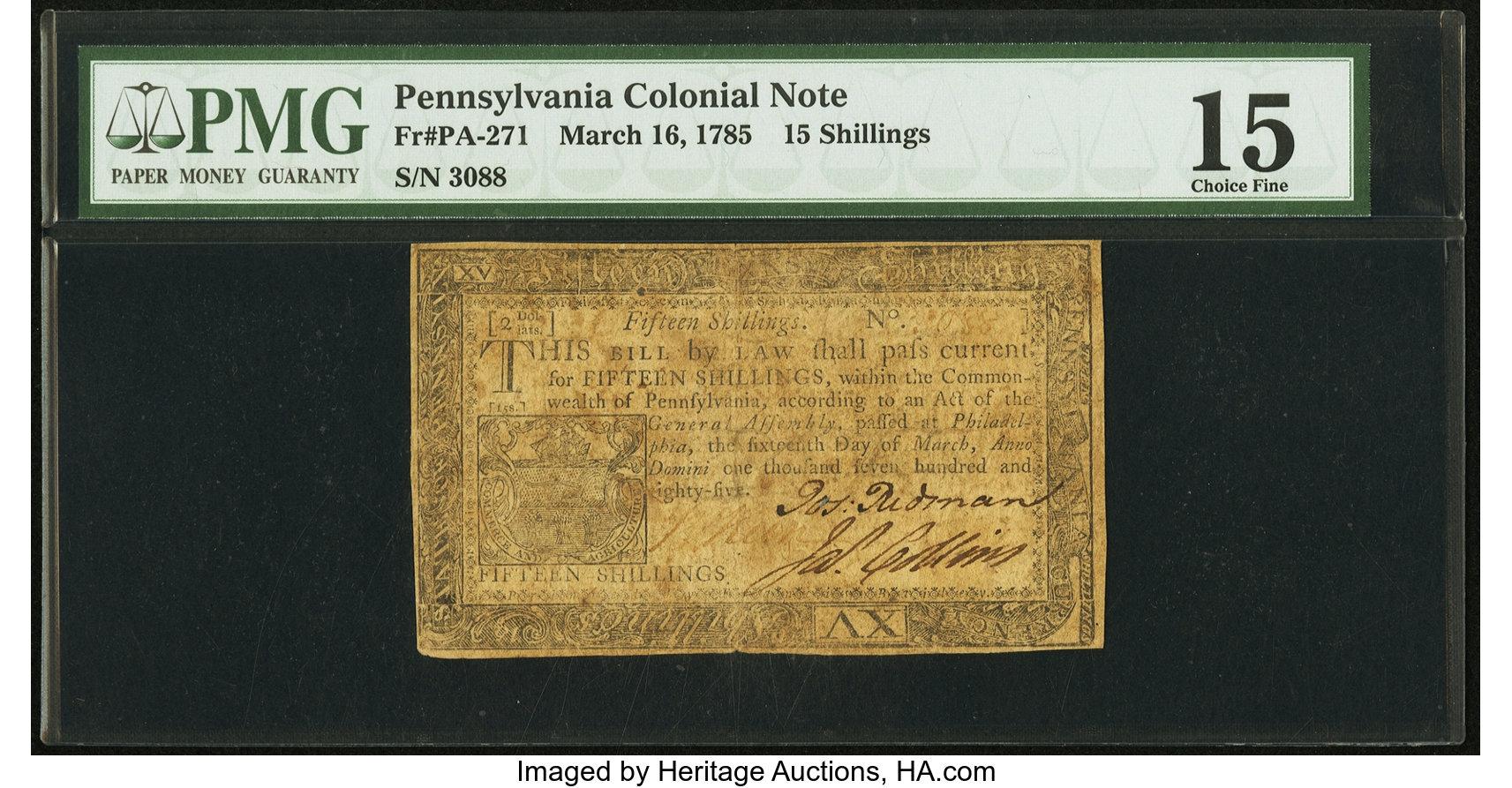 sample image for 1785 16-Mar 15s (Fr.# PA271)