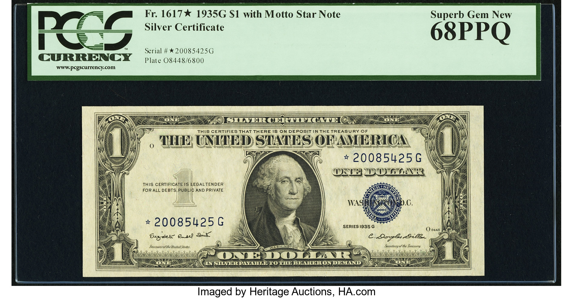sample image for 1935G $1  Replacement (Fr.# 1617*)