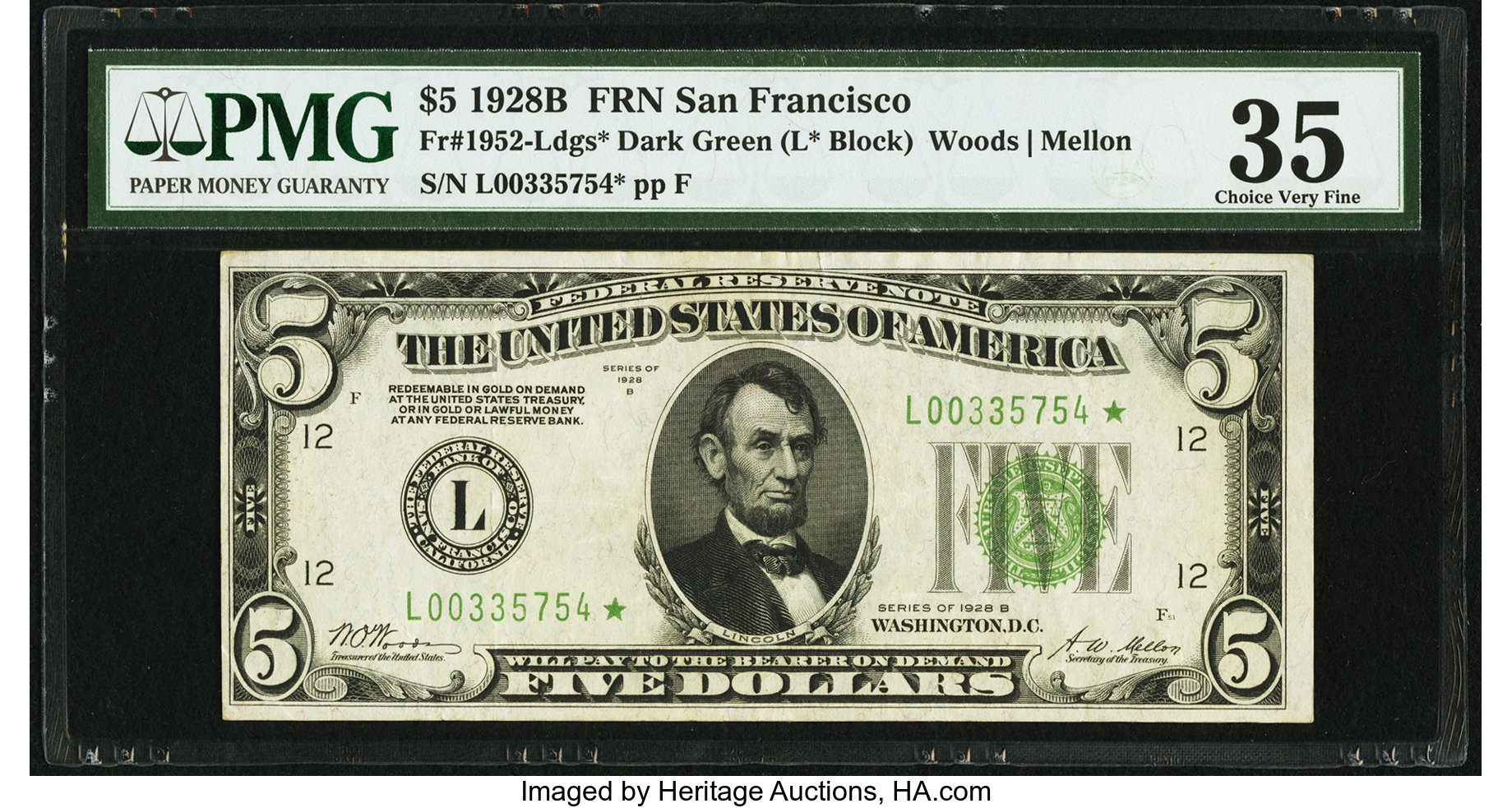sample image for 1928B $5  San Francisco (Fr.# 1952L)