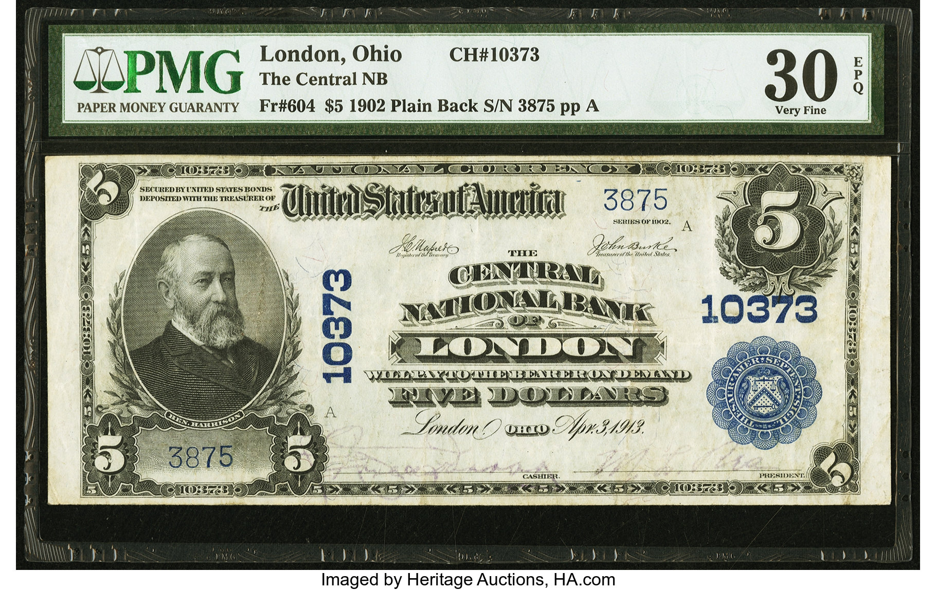 sample image for 1902 3rd Charter Period $5  Plain Back 3rd Issue (Fr.# 604)