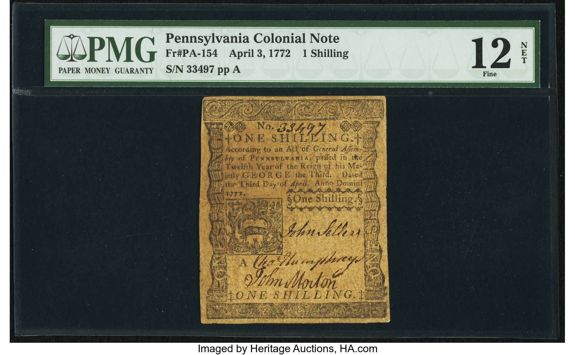 sample image for 1772 3-Apr 1s (Fr.# PA154)