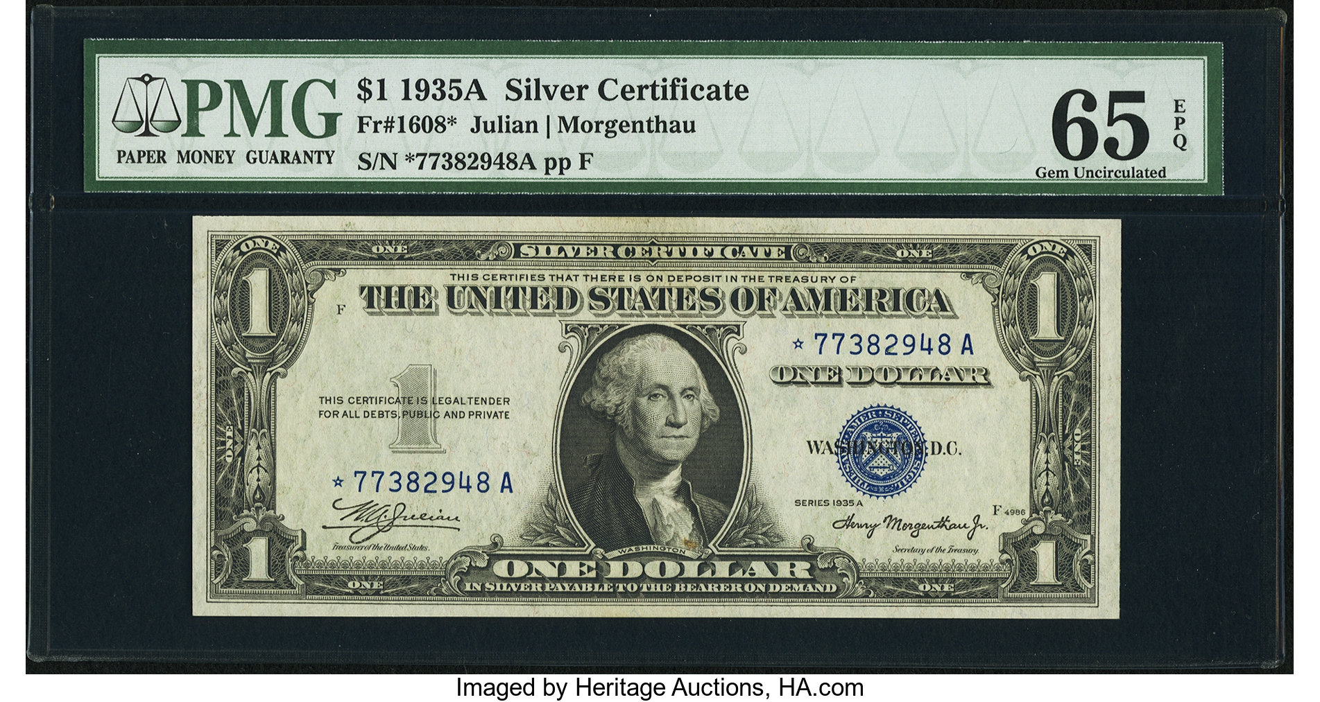 sample image for 1935A $1  Replacement (Fr.# 1608*)