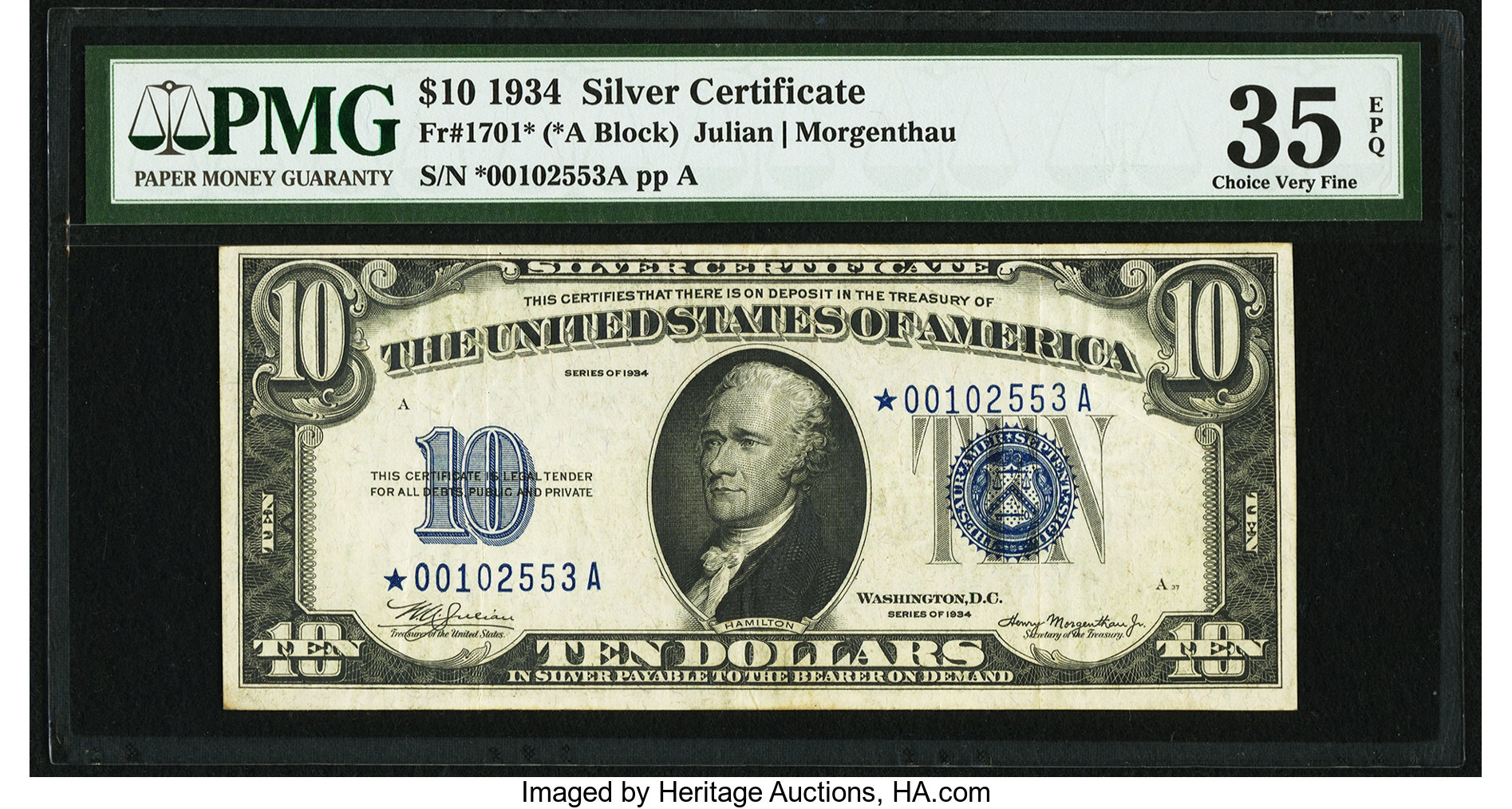 sample image for 1934 $10  Replacement (Fr.# 1701*)