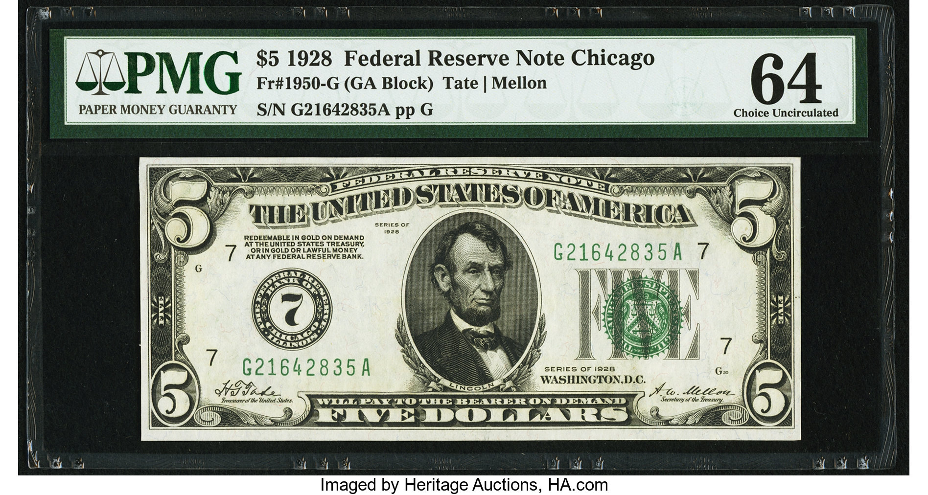 sample image for 1928 $5  Chicago (Fr.# 1950G)