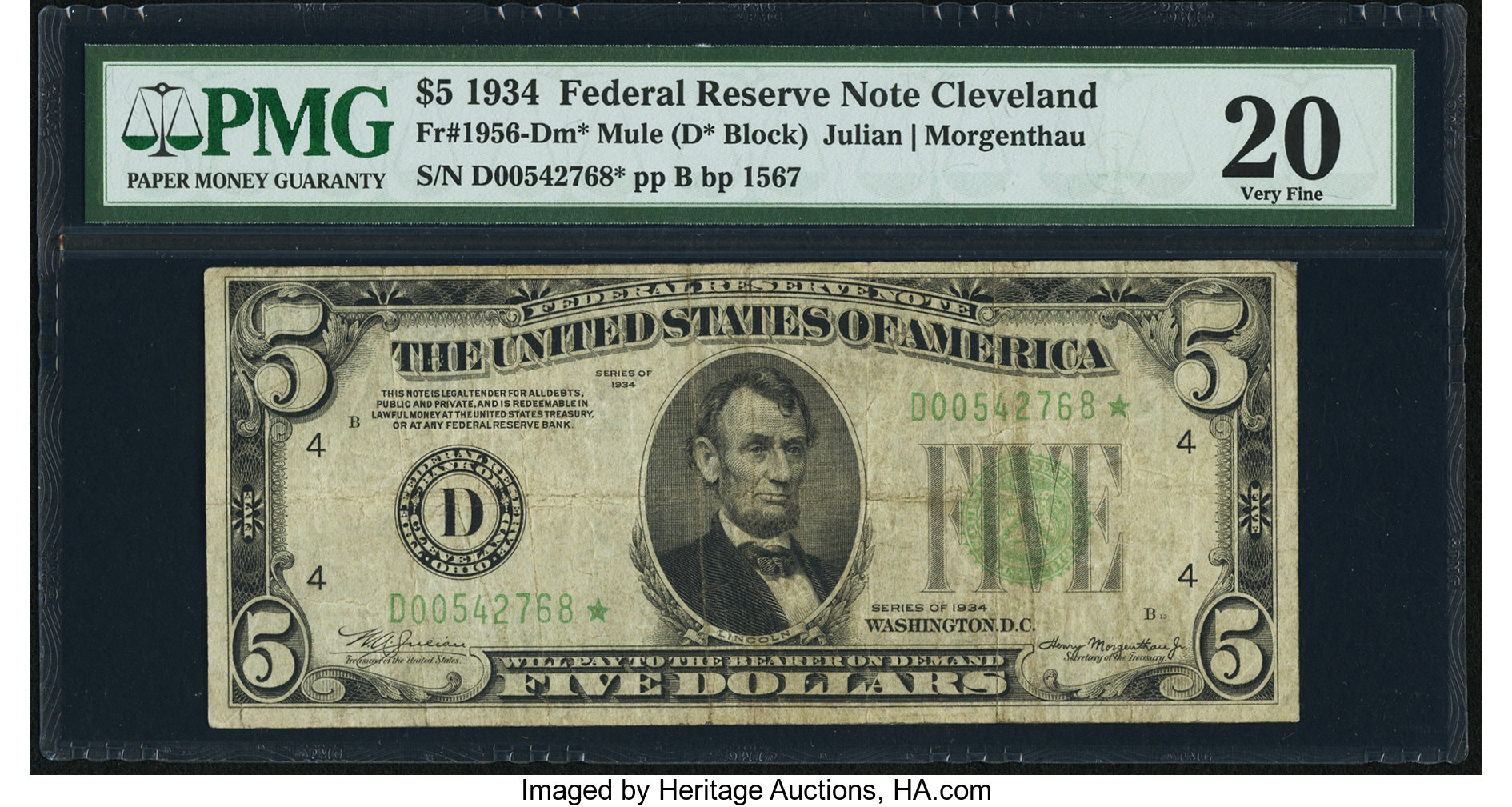 sample image for 1934 Dark Green Seal $5  Cleveland (Fr.# 1956D)
