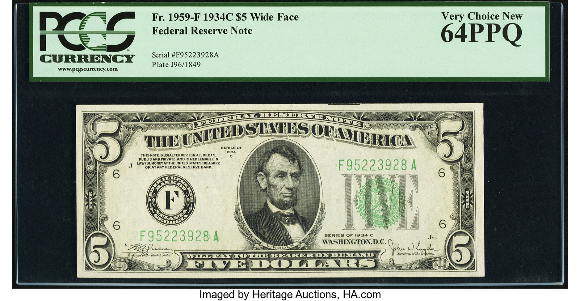 sample image for 1934C Dark Green Seal $5  Atlanta (Fr.# 1959F)