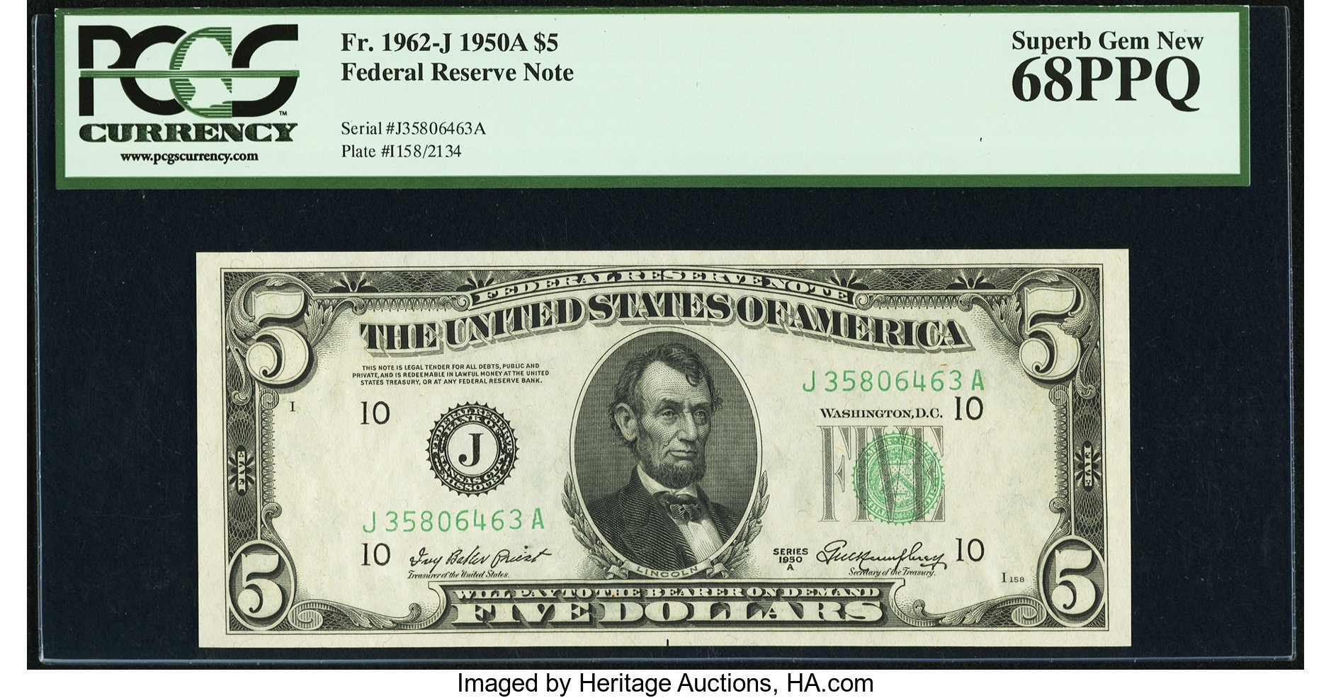 sample image for 1950A Dark Green Seal $5  (Fr.# 1962J)