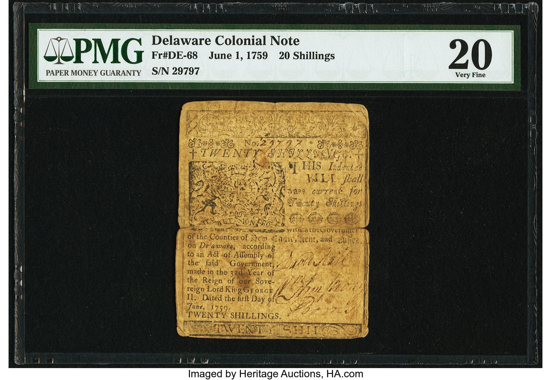 sample image for 1759 1-Jun 20 Shillings (Fr.# DE68)
