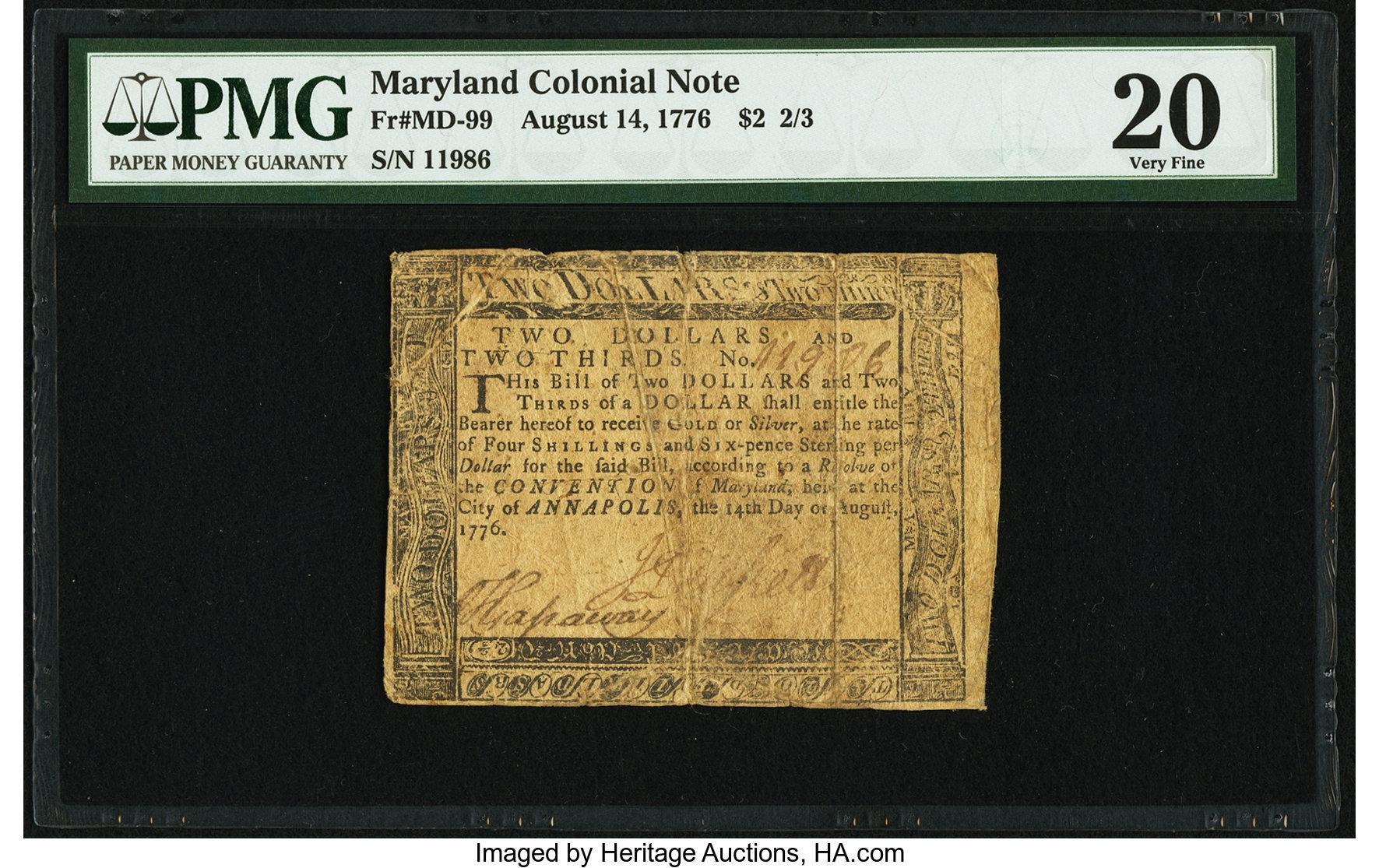 sample image for 1776 14-Aug $2  (Fr.# MD99)
