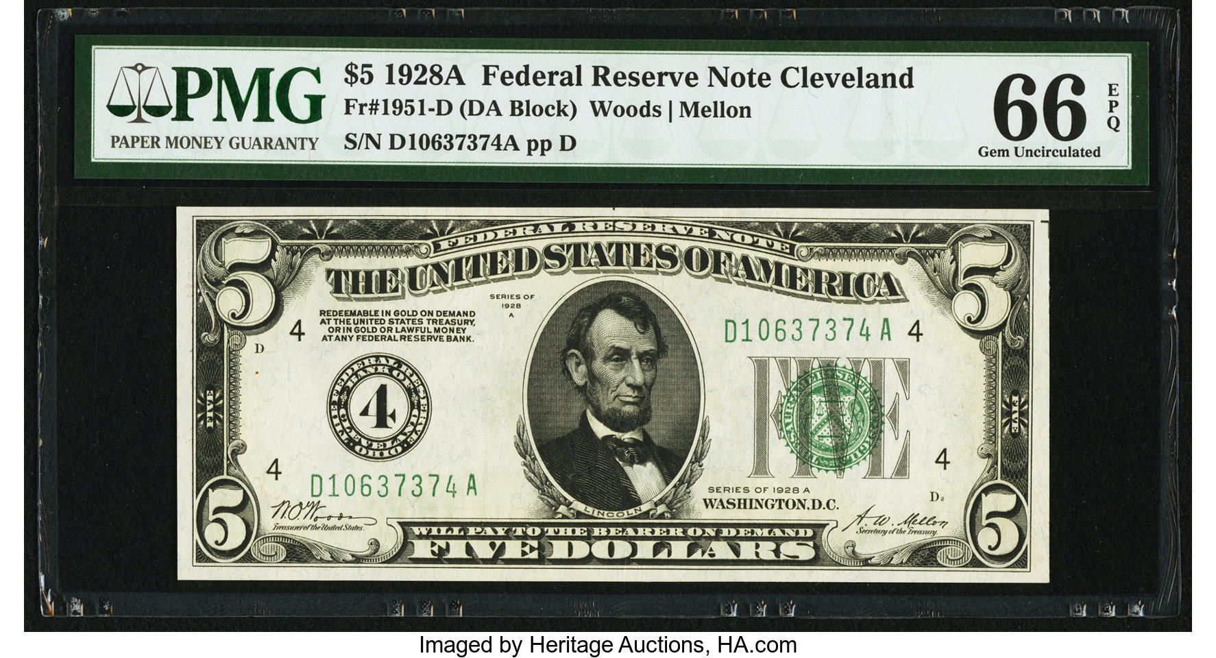 sample image for 1928A $5  Cleveland (Fr.# 1951D)