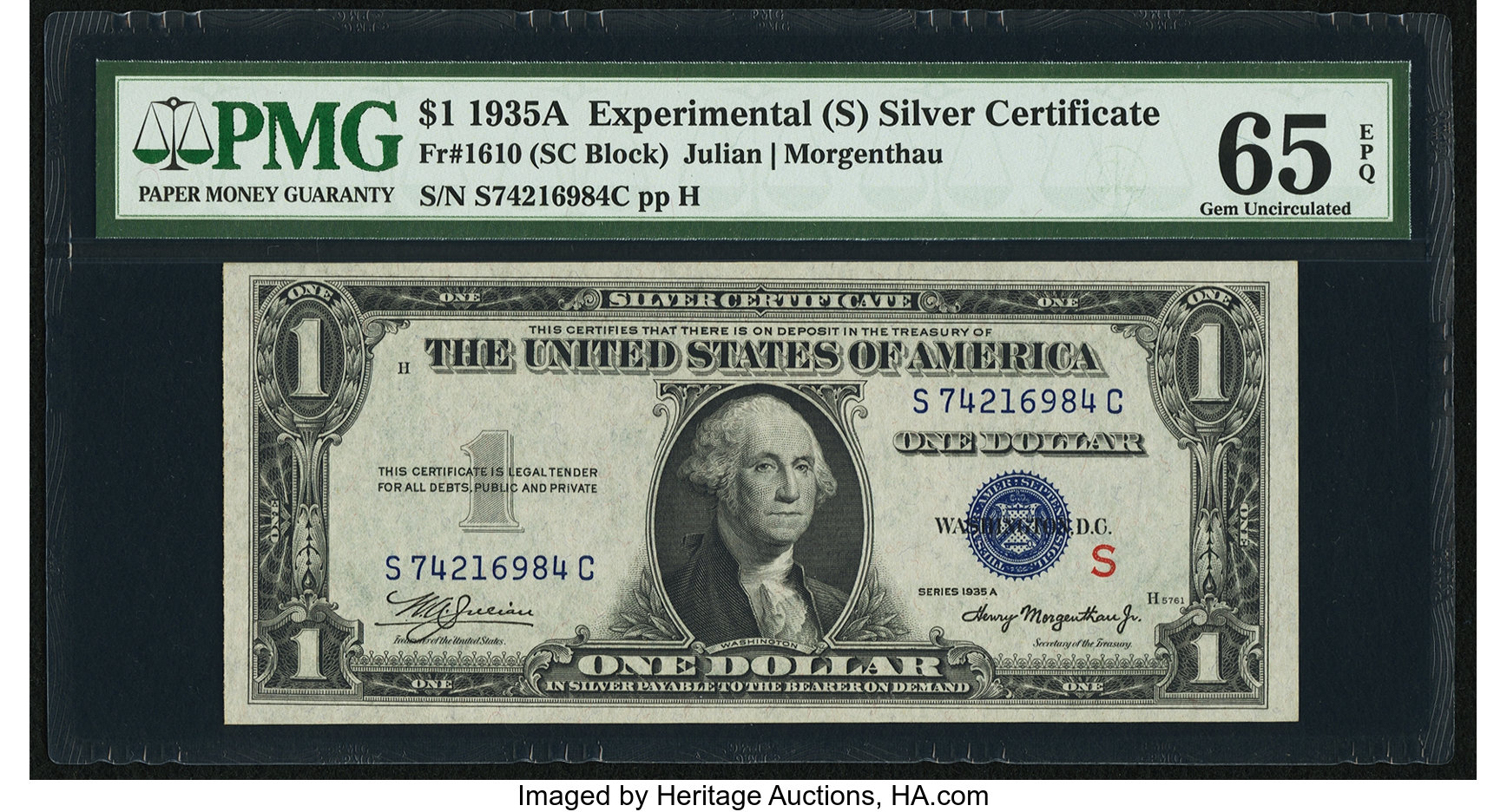 sample image for 1935A $1  S Experimental (Fr.# 1610)