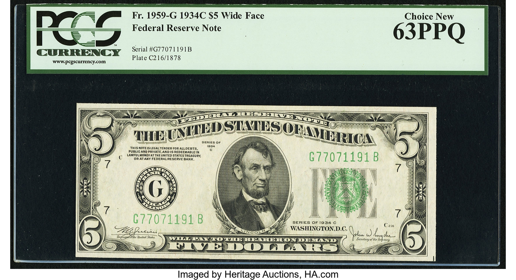 sample image for 1934C Dark Green Seal $5  Chicago (Fr.# 1959G)