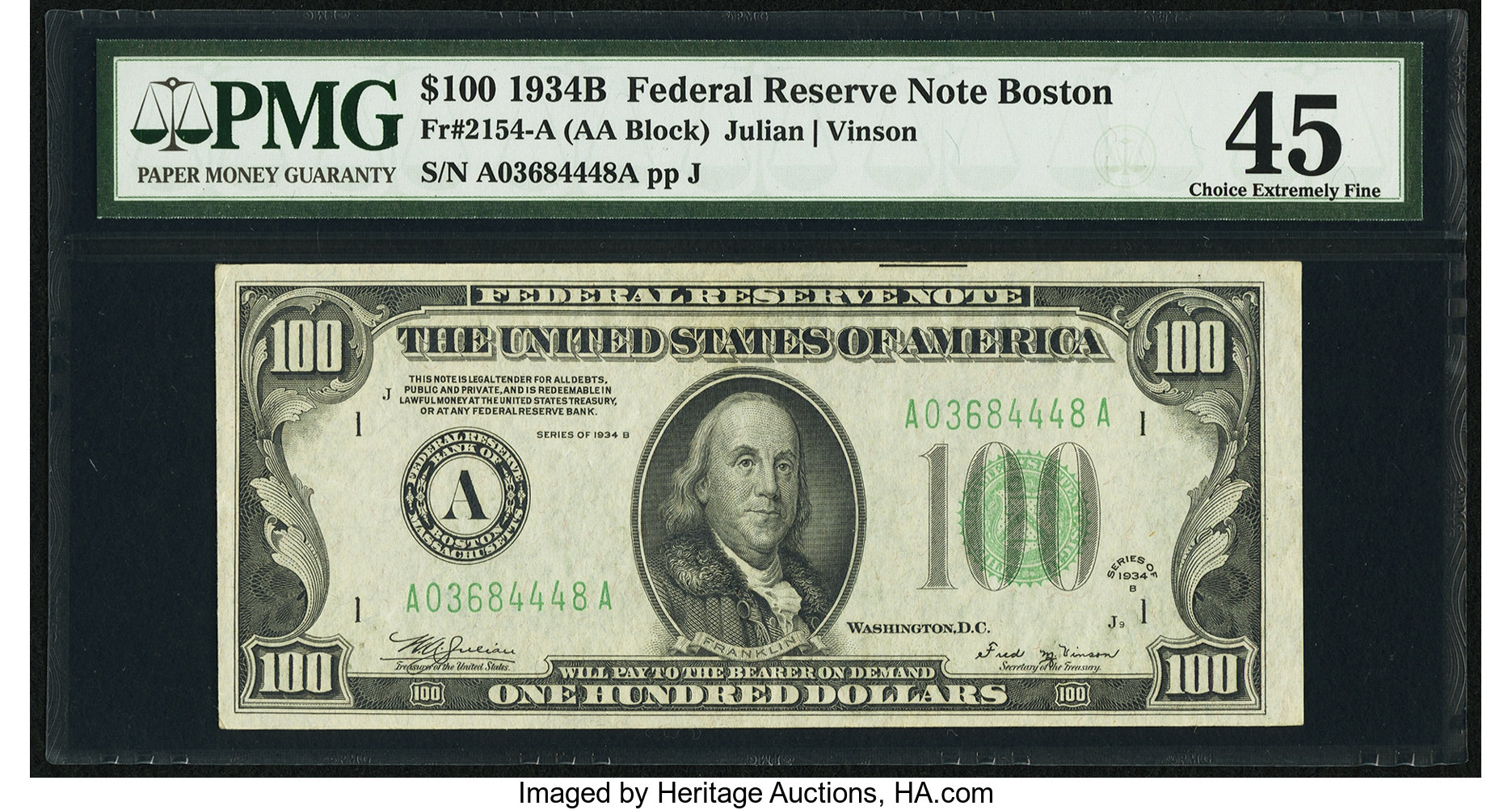 sample image for 1934B $100  Boston (Fr.# 2154A)