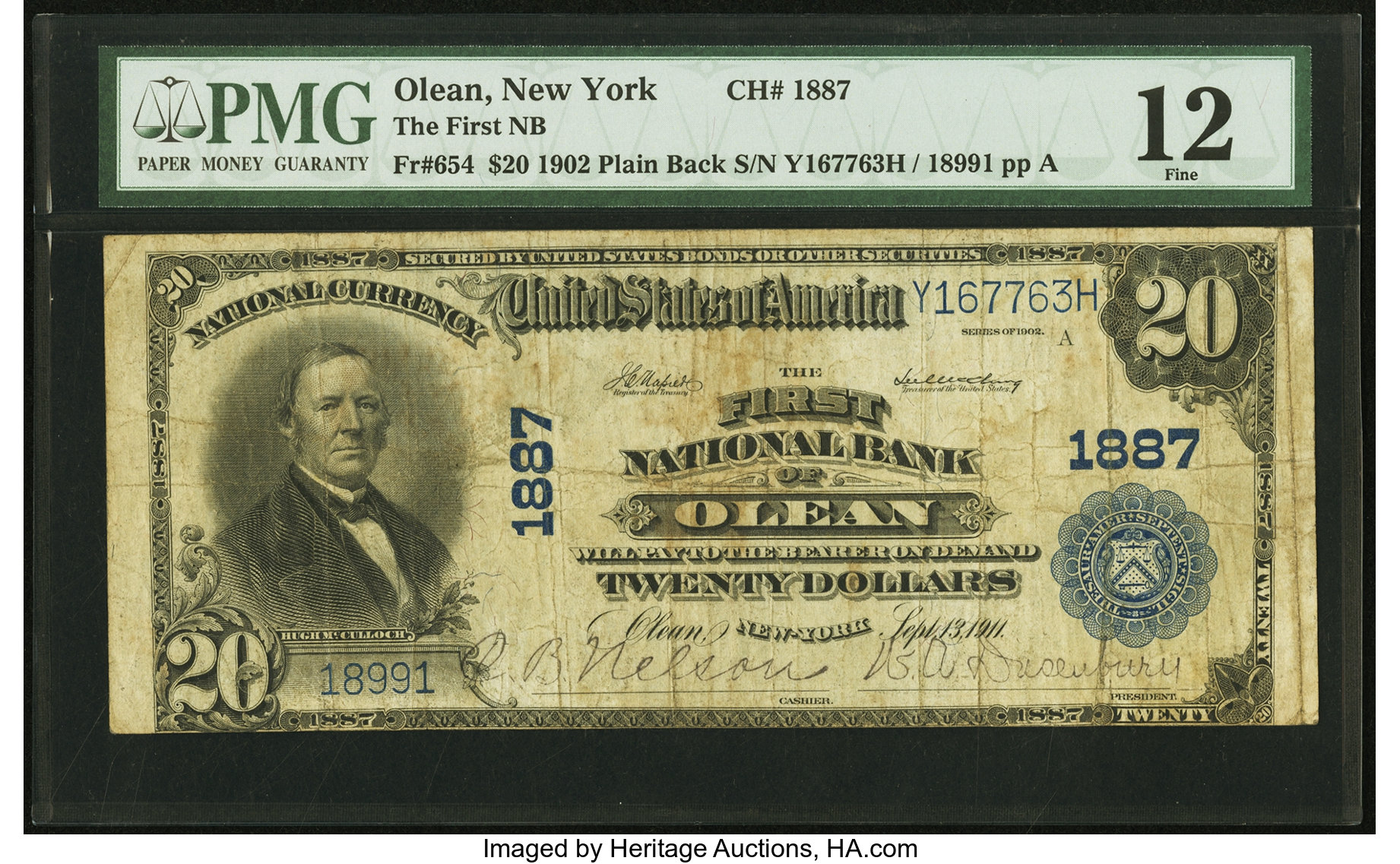 sample image for 1902 3rd Charter Period $20  Plain Back 3rd Issue (Fr.# 654)