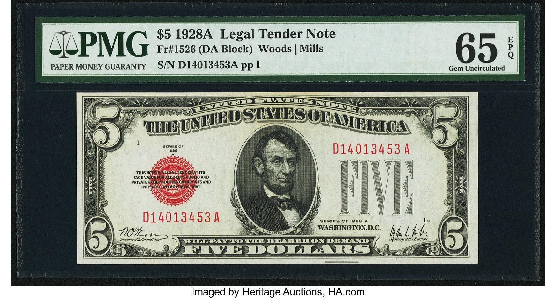 sample image for 1928A $5  (Fr.# 1526)