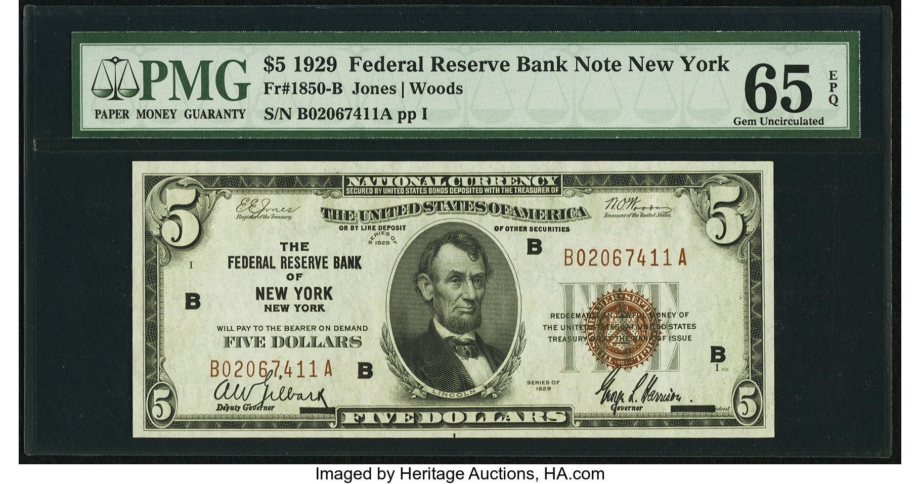 sample image for 1929 $5  New York (Fr.# 1850B)