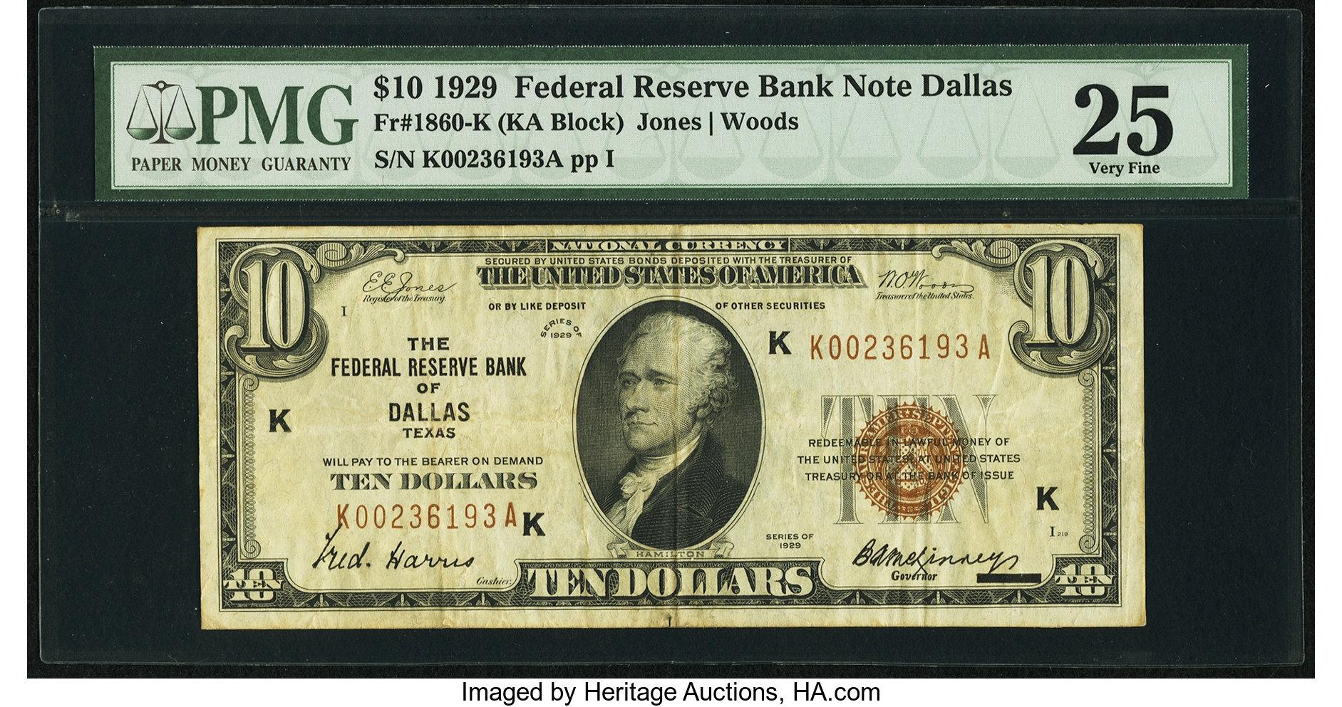 sample image for 1929 $10  Dallas (Fr.# 1860K)