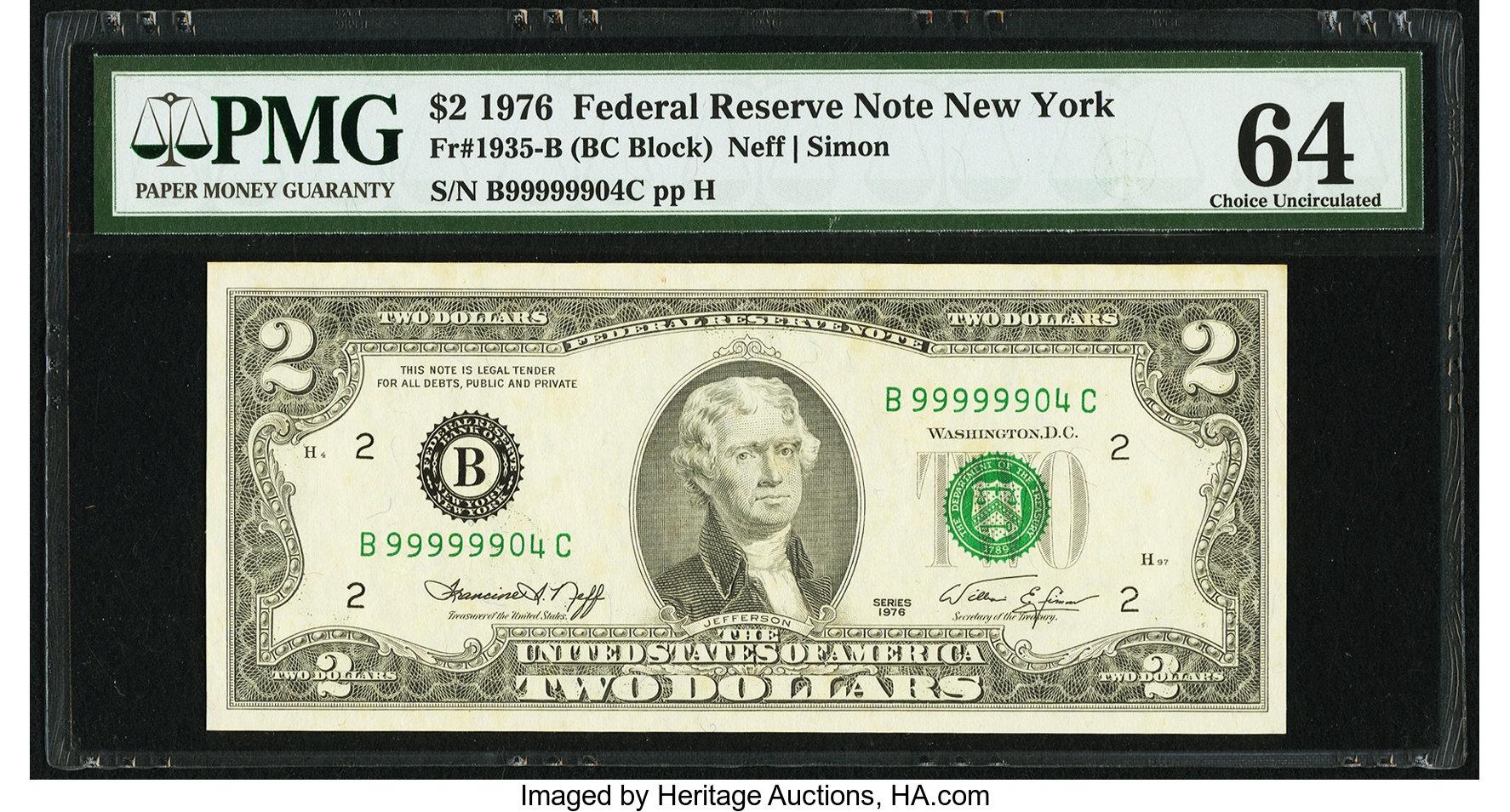 sample image for 1976 $2  New York (Fr.# 1935B)