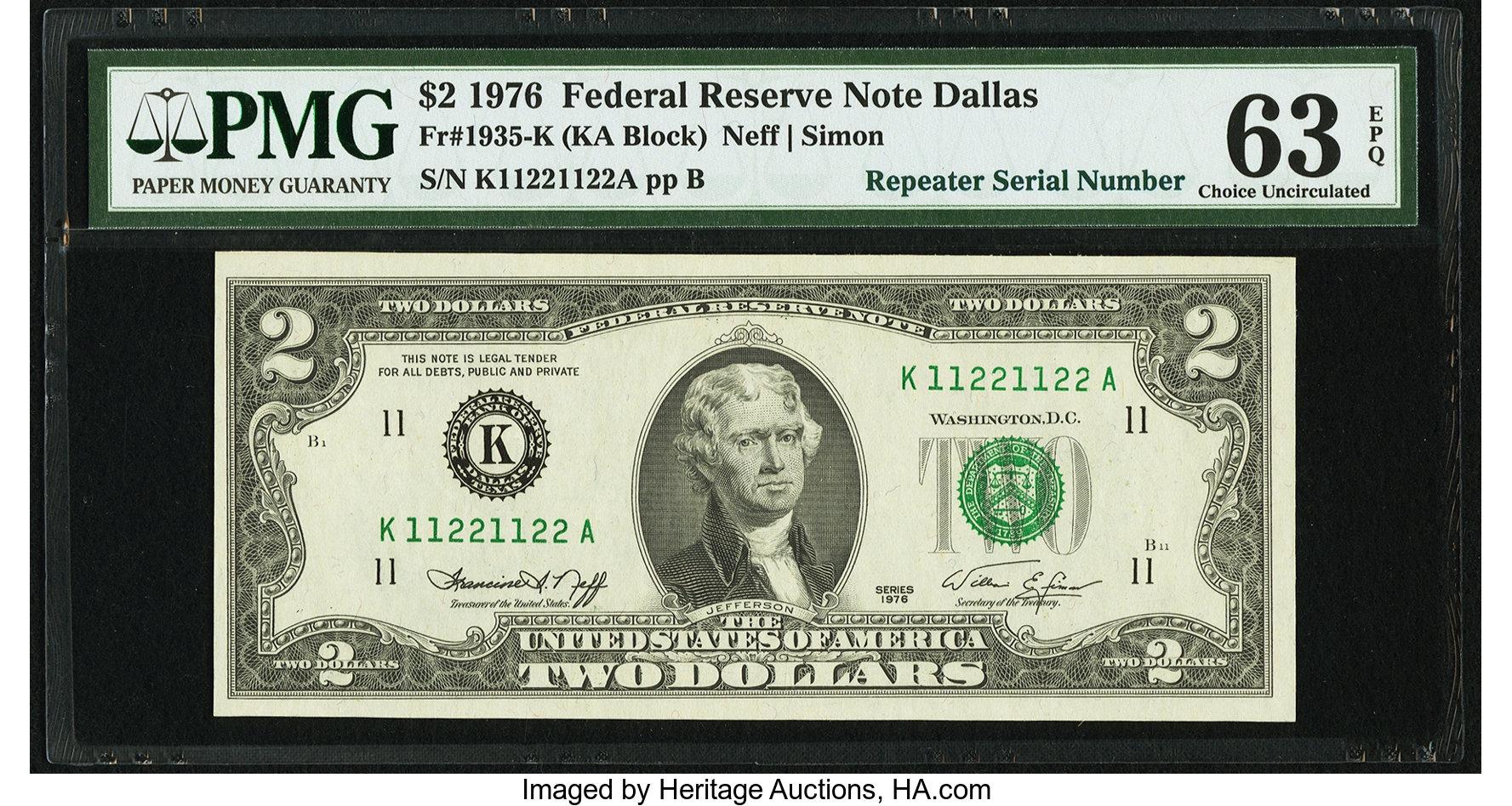 sample image for 1976 $2  Dallas (Fr.# 1935K)