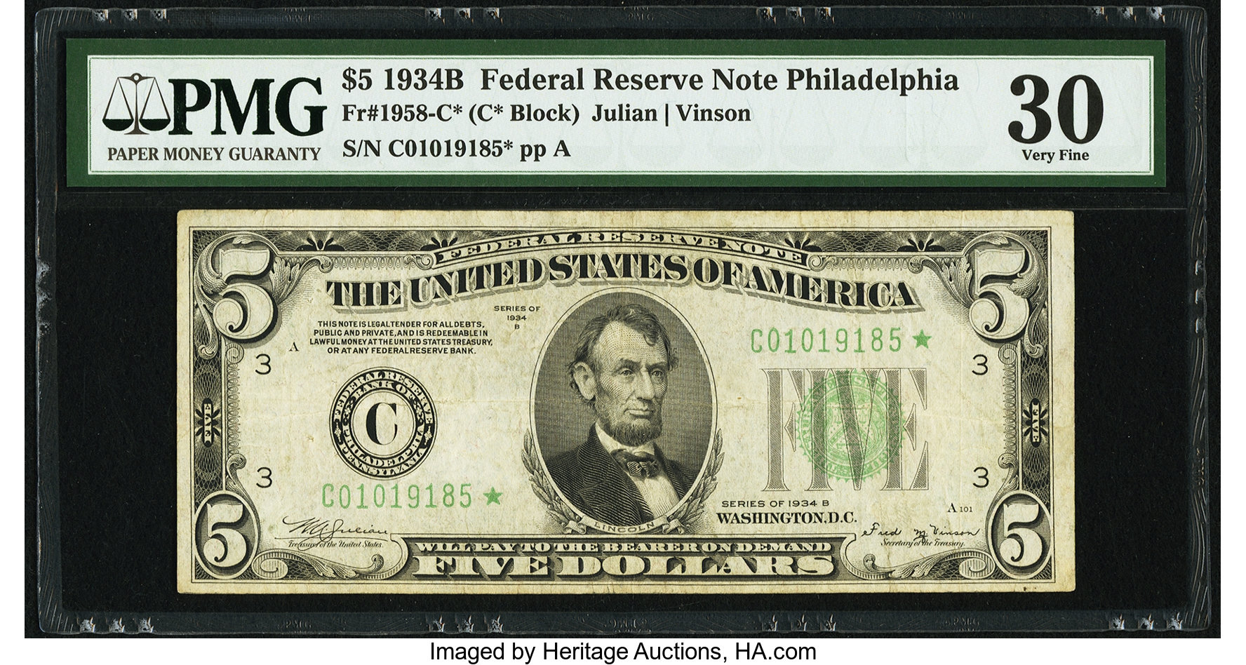 sample image for 1934B Dark Green Seal $5  Philadelphia (Fr.# 1958C)