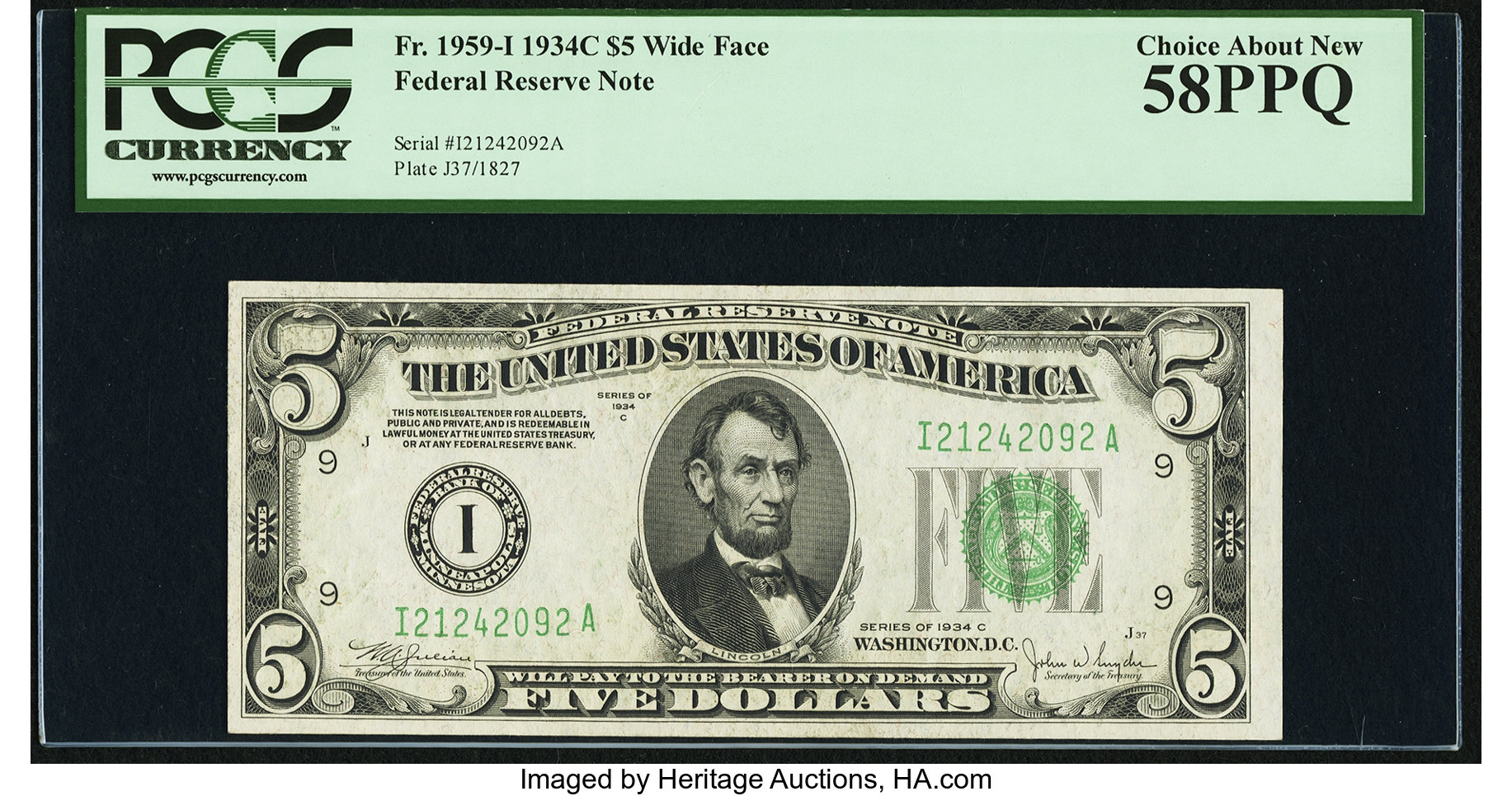 sample image for 1934C Dark Green Seal $5  Minneapolis (Fr.# 1959I)