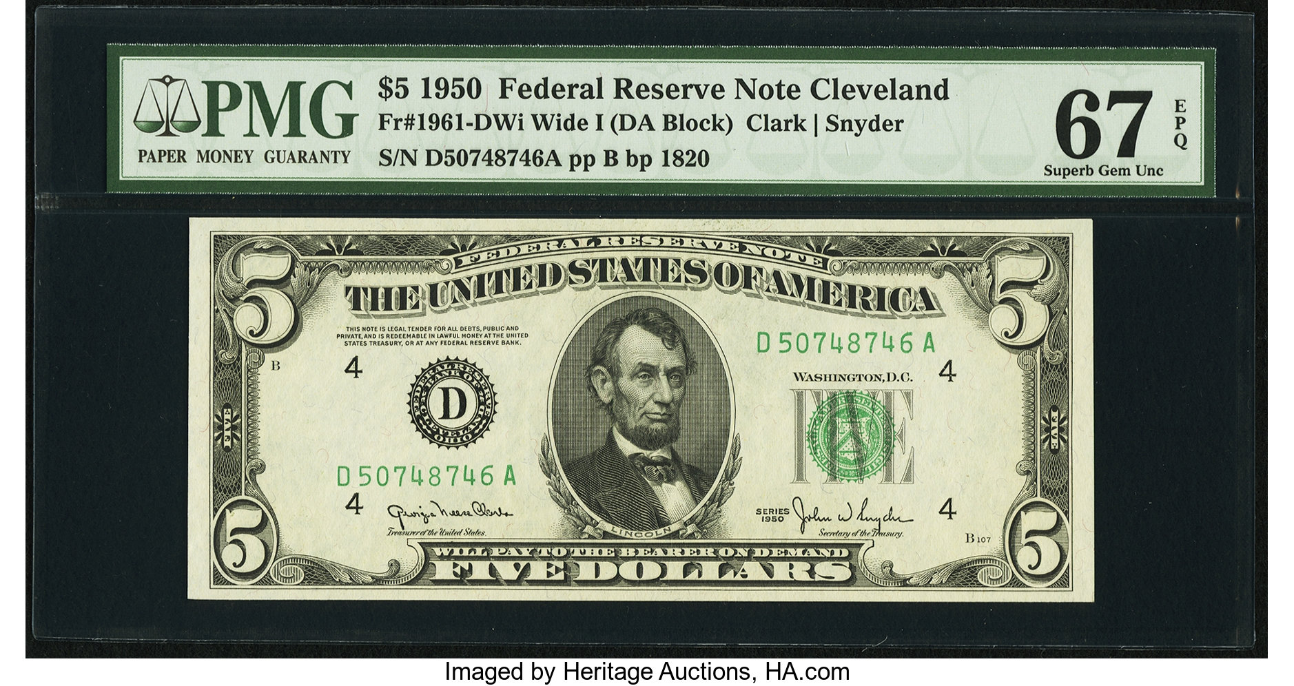 sample image for 1950 Dark Green Seal $5  (Fr.# 1961D)