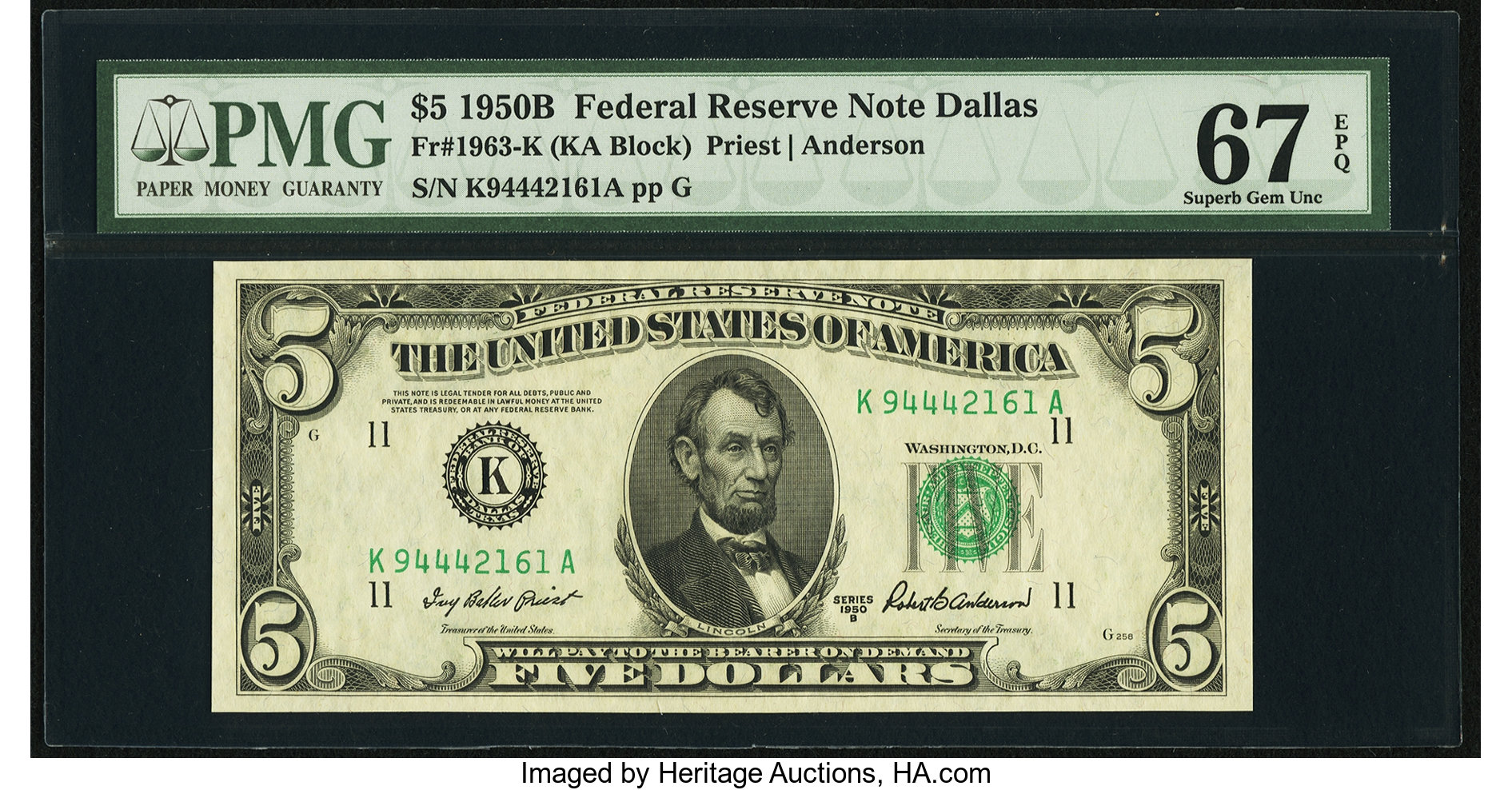 sample image for 1950B Dark Green Seal $5  (Fr.# 1963K)