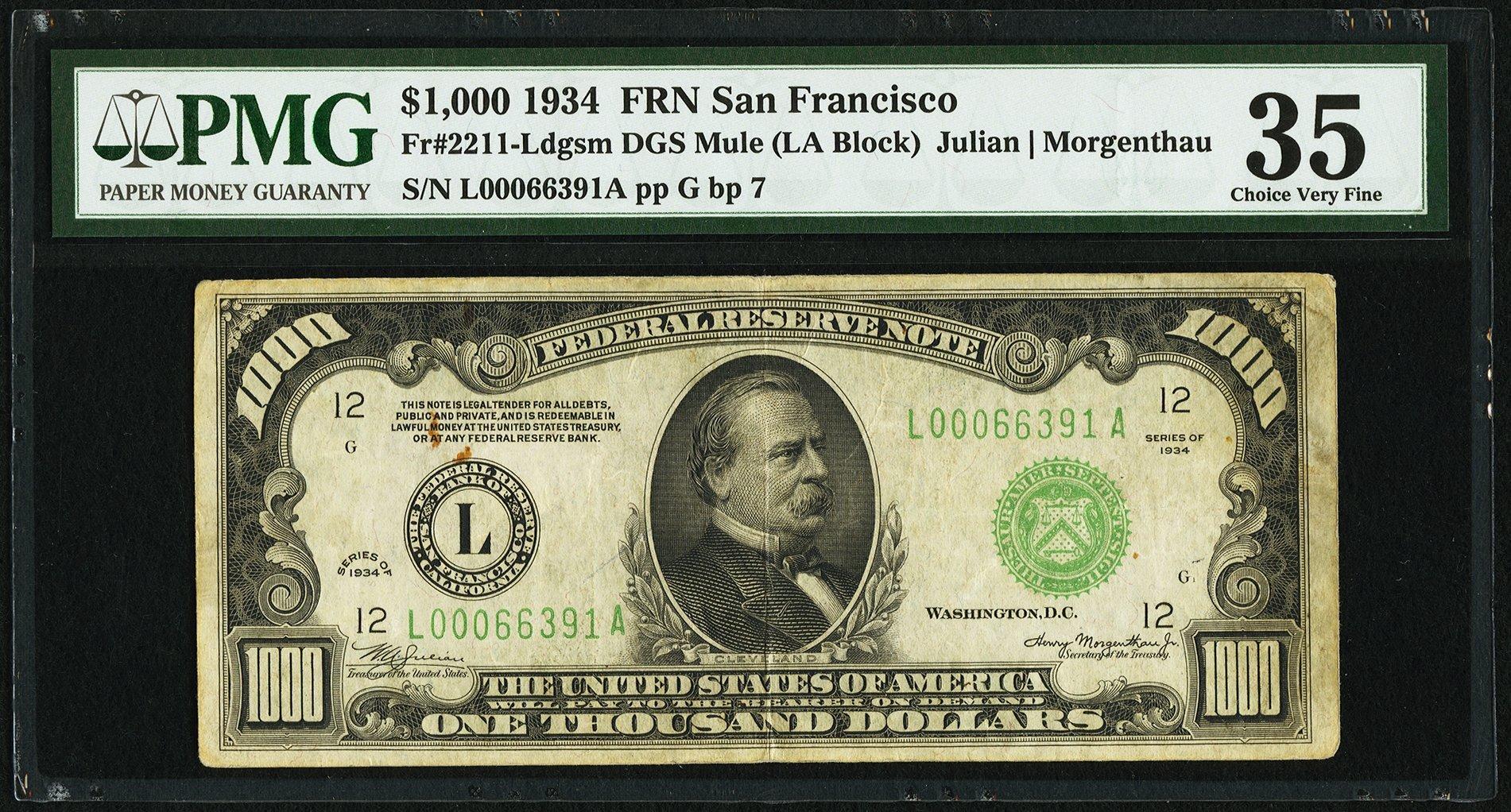 sample image for Fr.2211L $1,000 1934 San Francisco
