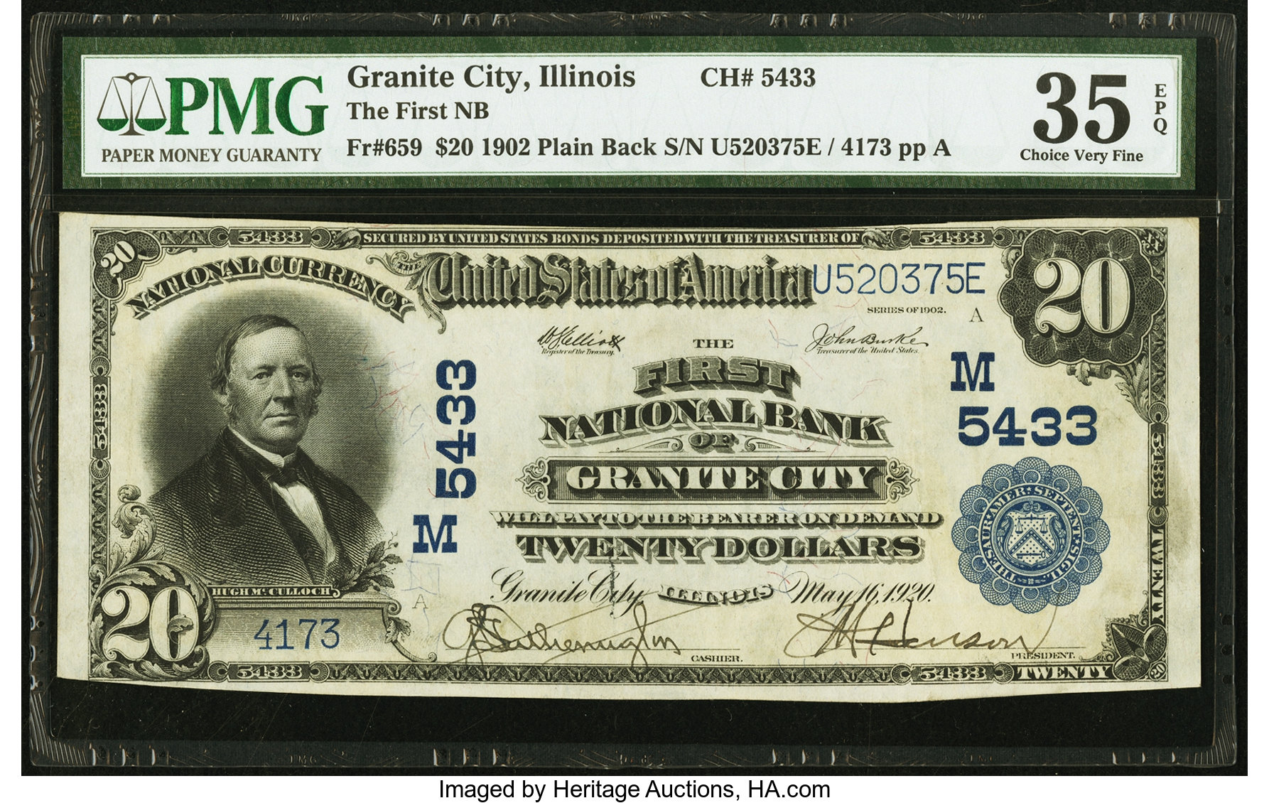 sample image for 1902 3rd Charter Period $20  Plain Back 3rd Issue (Fr.# 659)