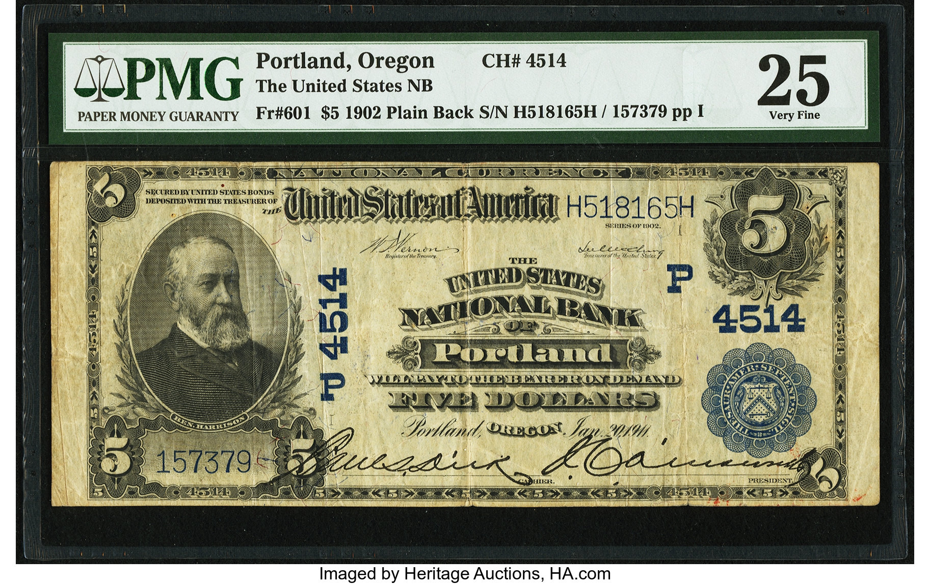 sample image for 1902 3rd Charter Period $5  Plain Back 3rd Issue (Fr.# 601)