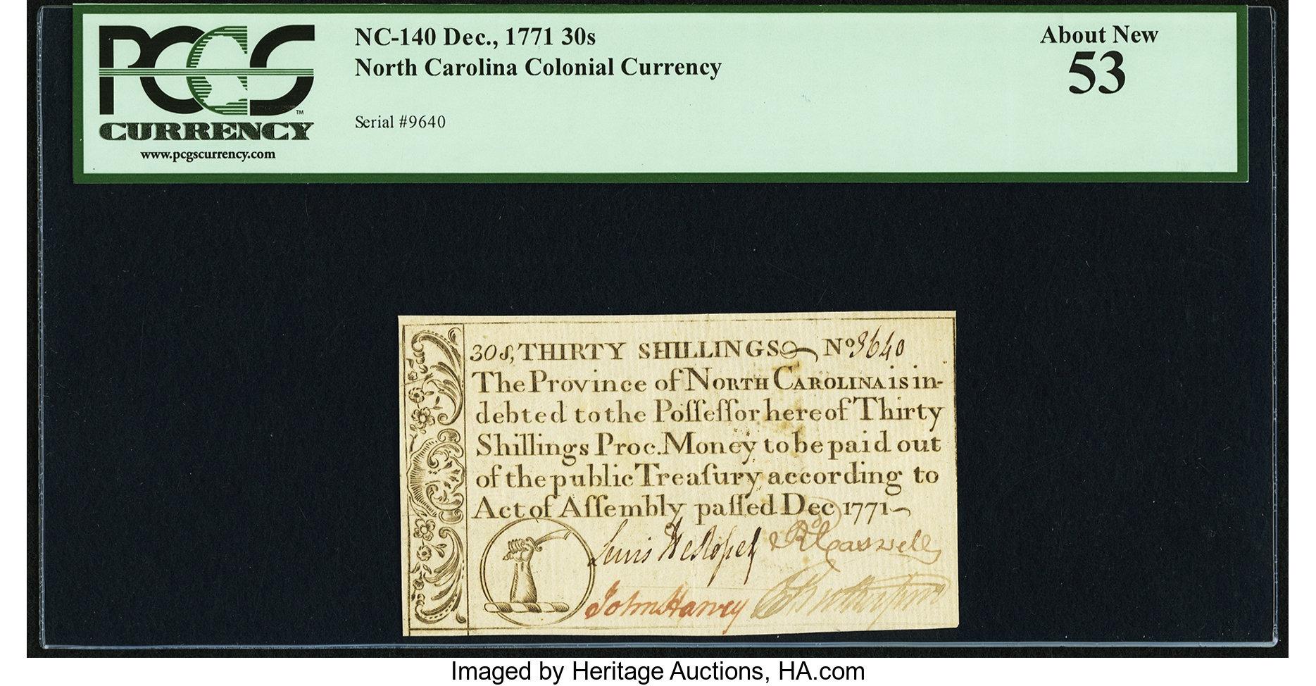 sample image for 1771 December 30s (Fr.# NC140)