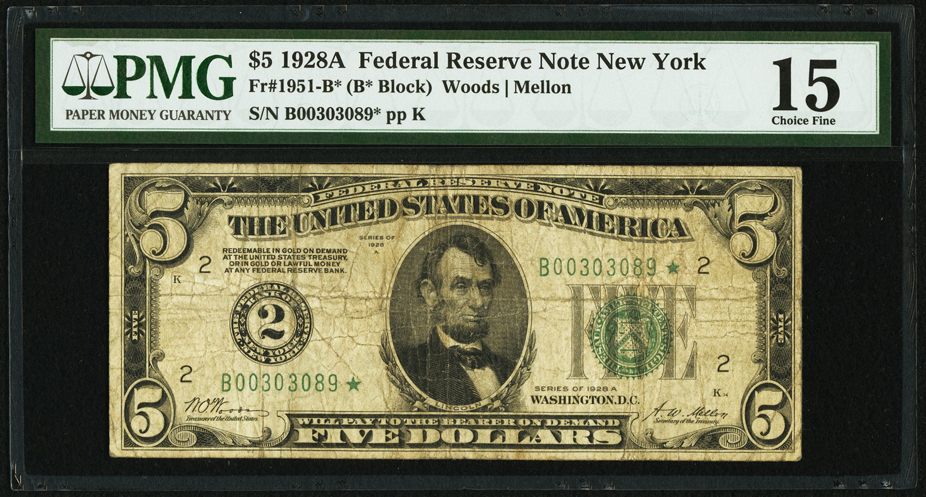 sample image for 1928A $5  New York (Fr.# 1951B)