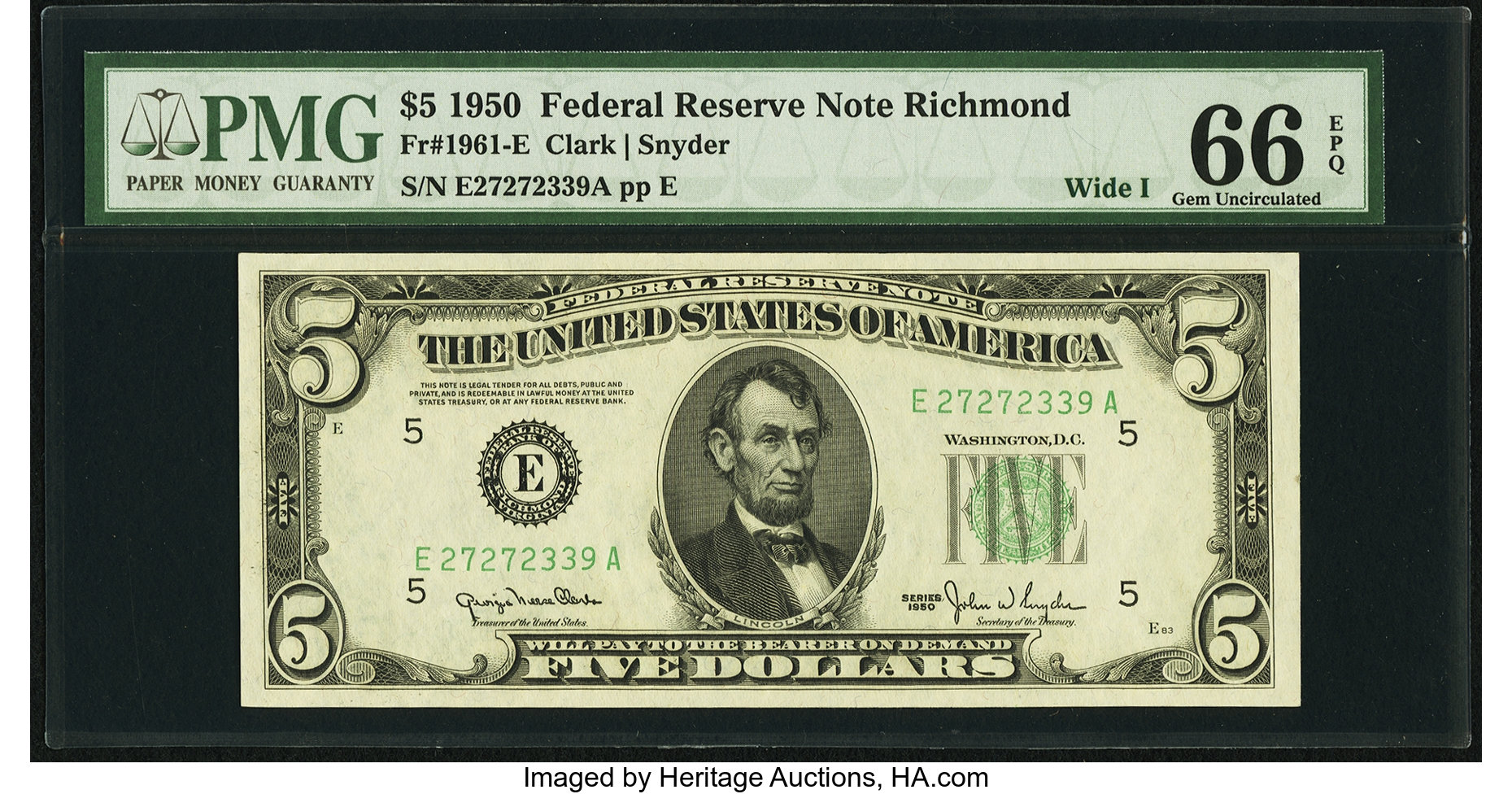 sample image for 1950 Dark Green Seal $5  (Fr.# 1961E)