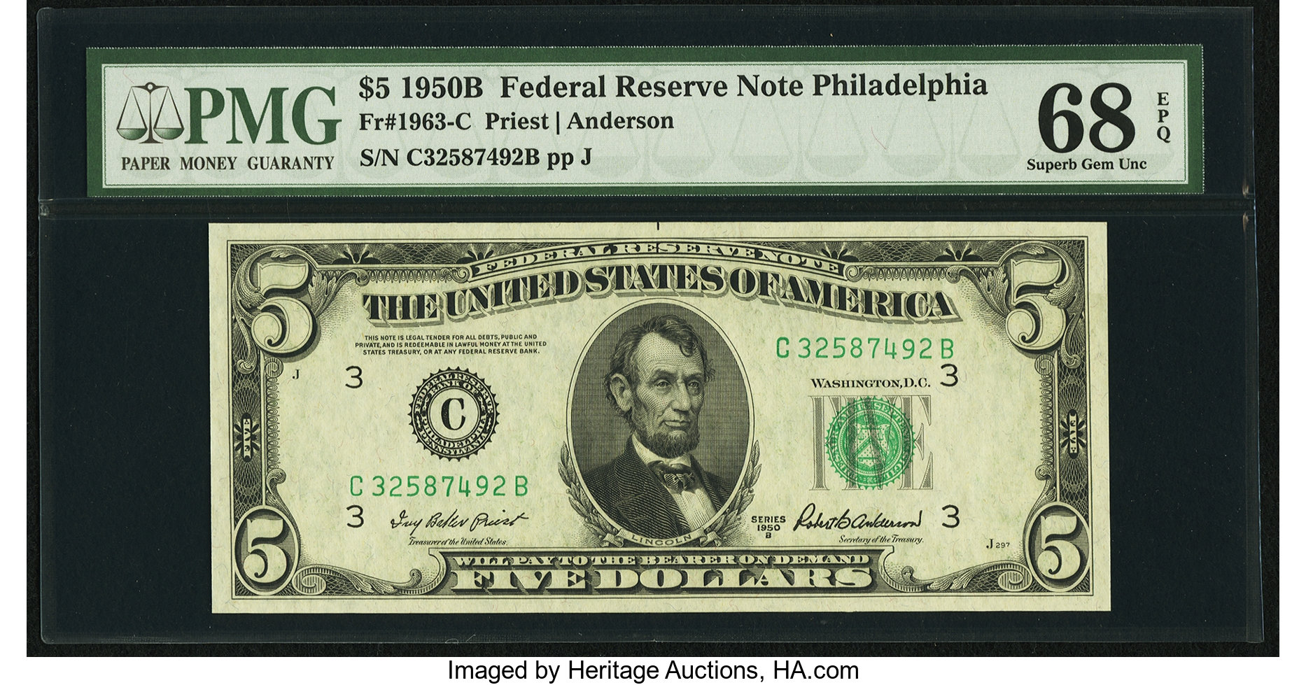 sample image for 1950B Dark Green Seal $5  (Fr.# 1963C)