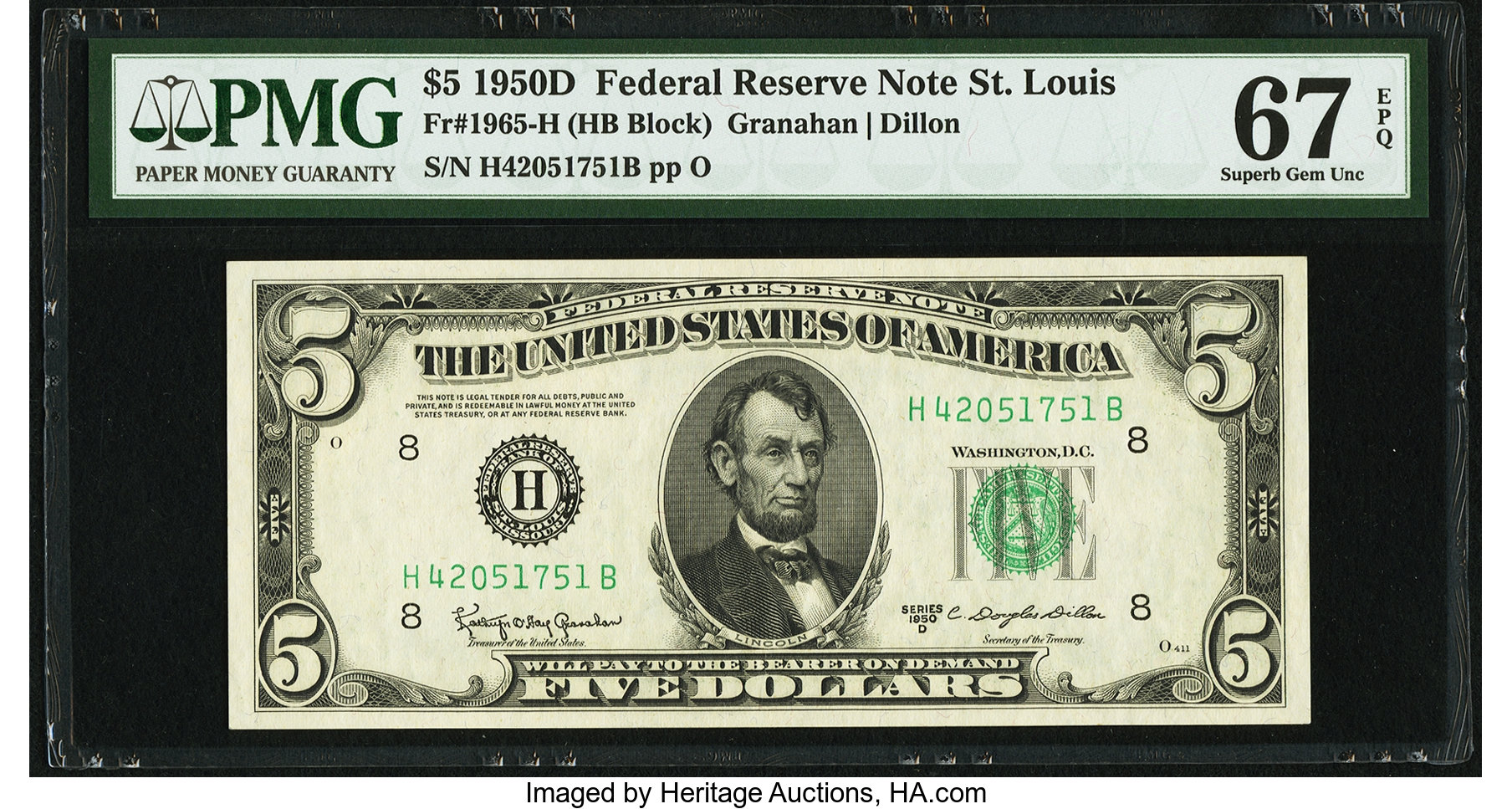 sample image for 1950D Dark Green Seal $5  (Fr.# 1965H)